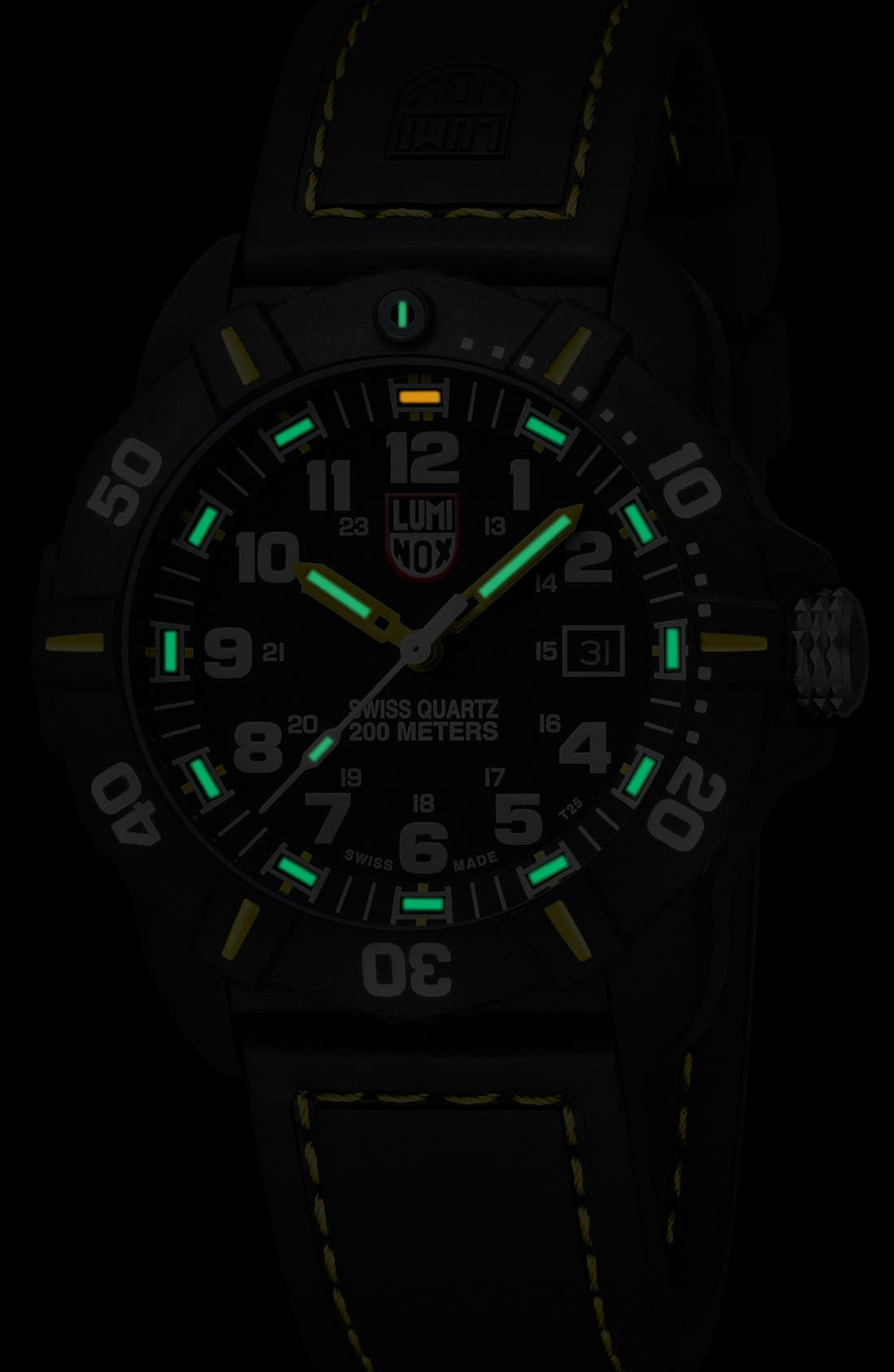 'Coronado' Rubber Strap Watch, 44mm,                             Alternate thumbnail 3, color,                             001