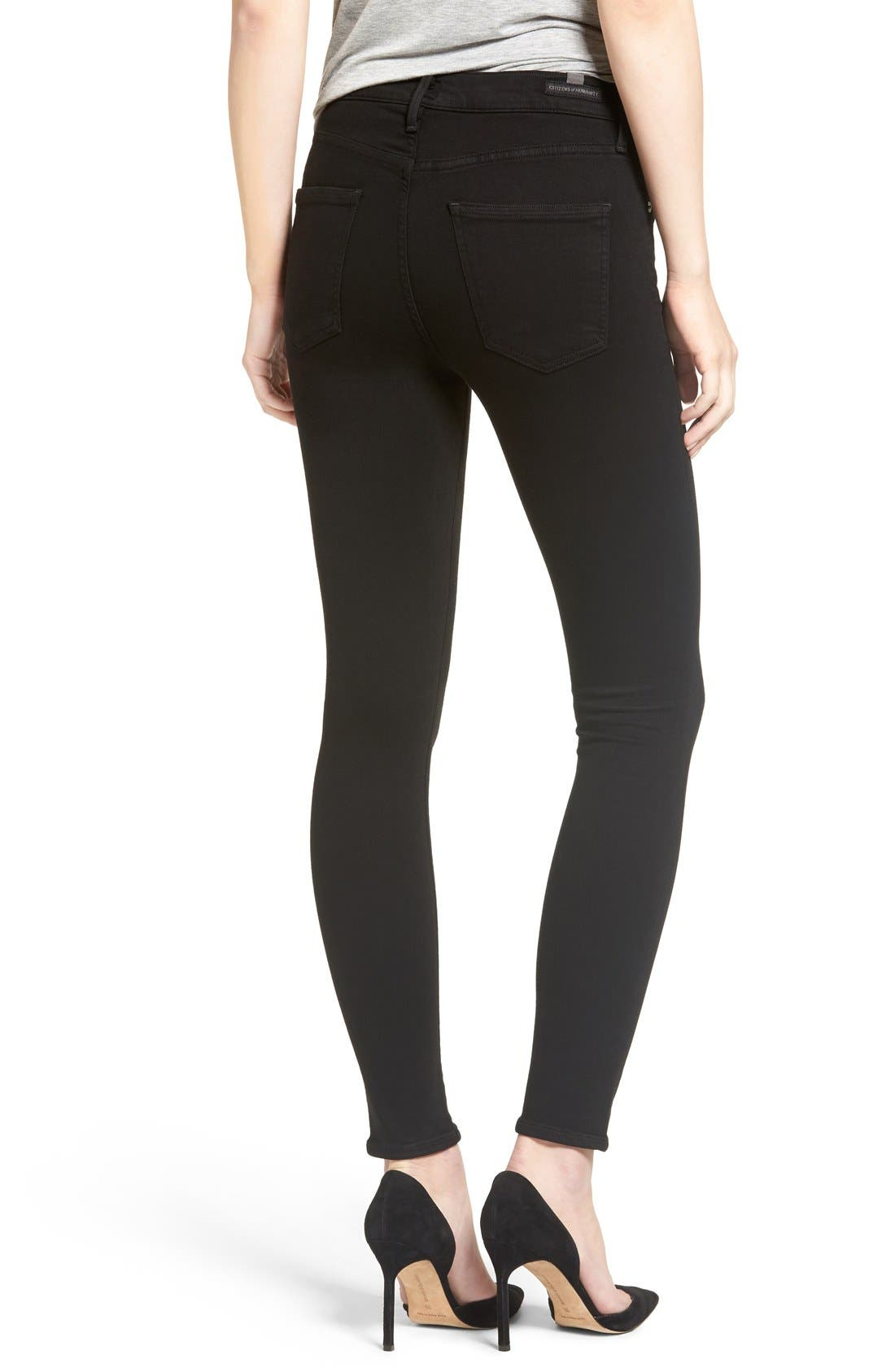 'Rocket' Skinny Jeans,                             Alternate thumbnail 3, color,                             ALL BLACK