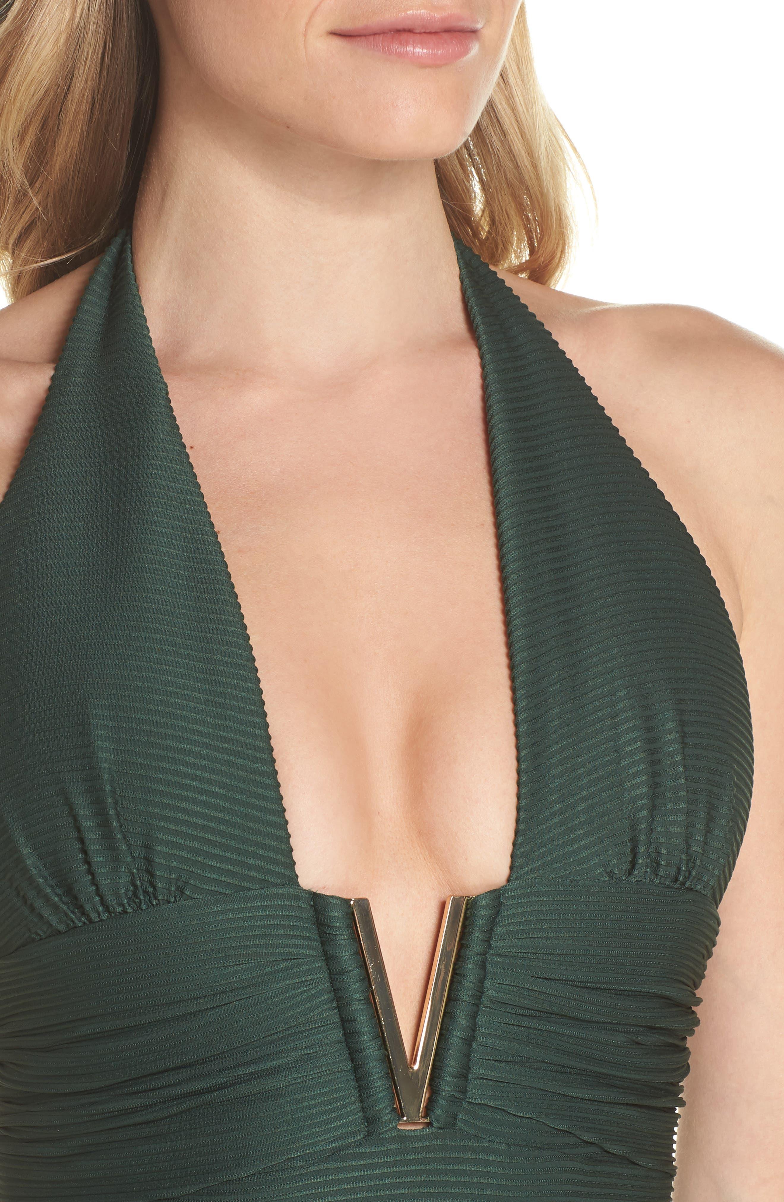 V-Bar One-Piece Halter Swimsuit,                             Alternate thumbnail 4, color,                             GREEN