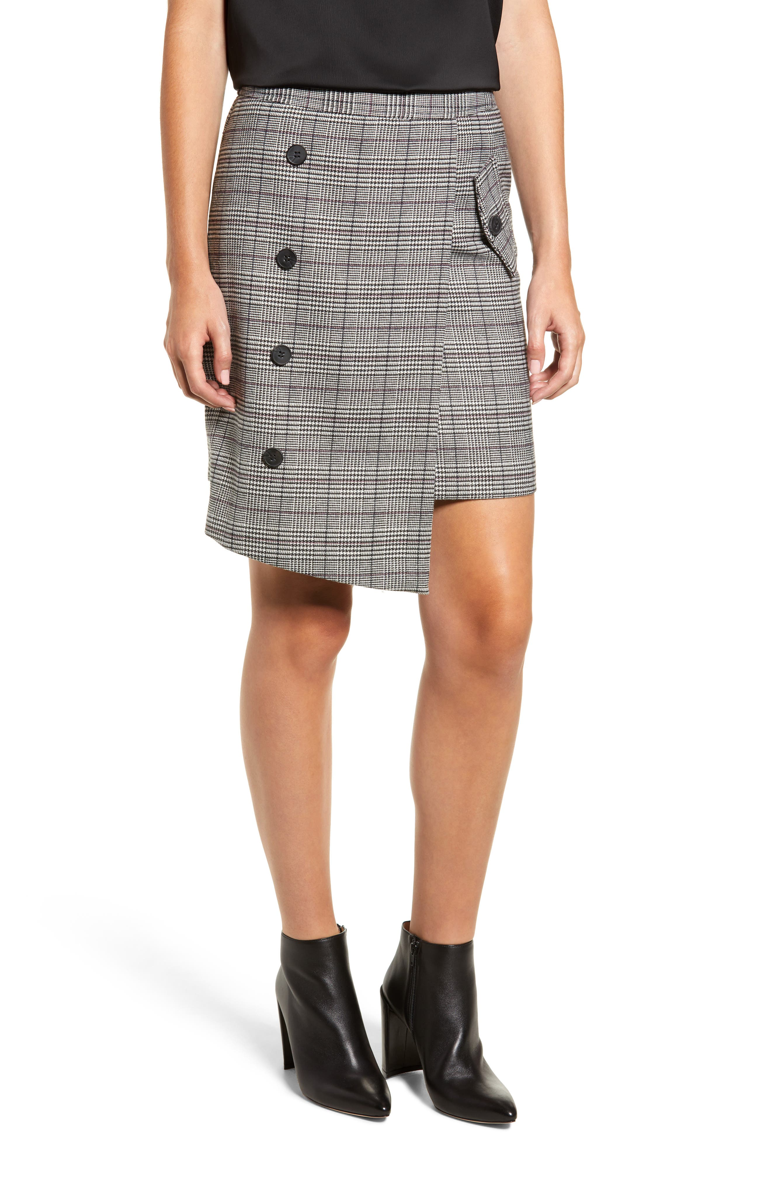 Chriselle Lim Bianca Houndstooth Button Front Skirt,                             Main thumbnail 1, color,                             GREY PLAID