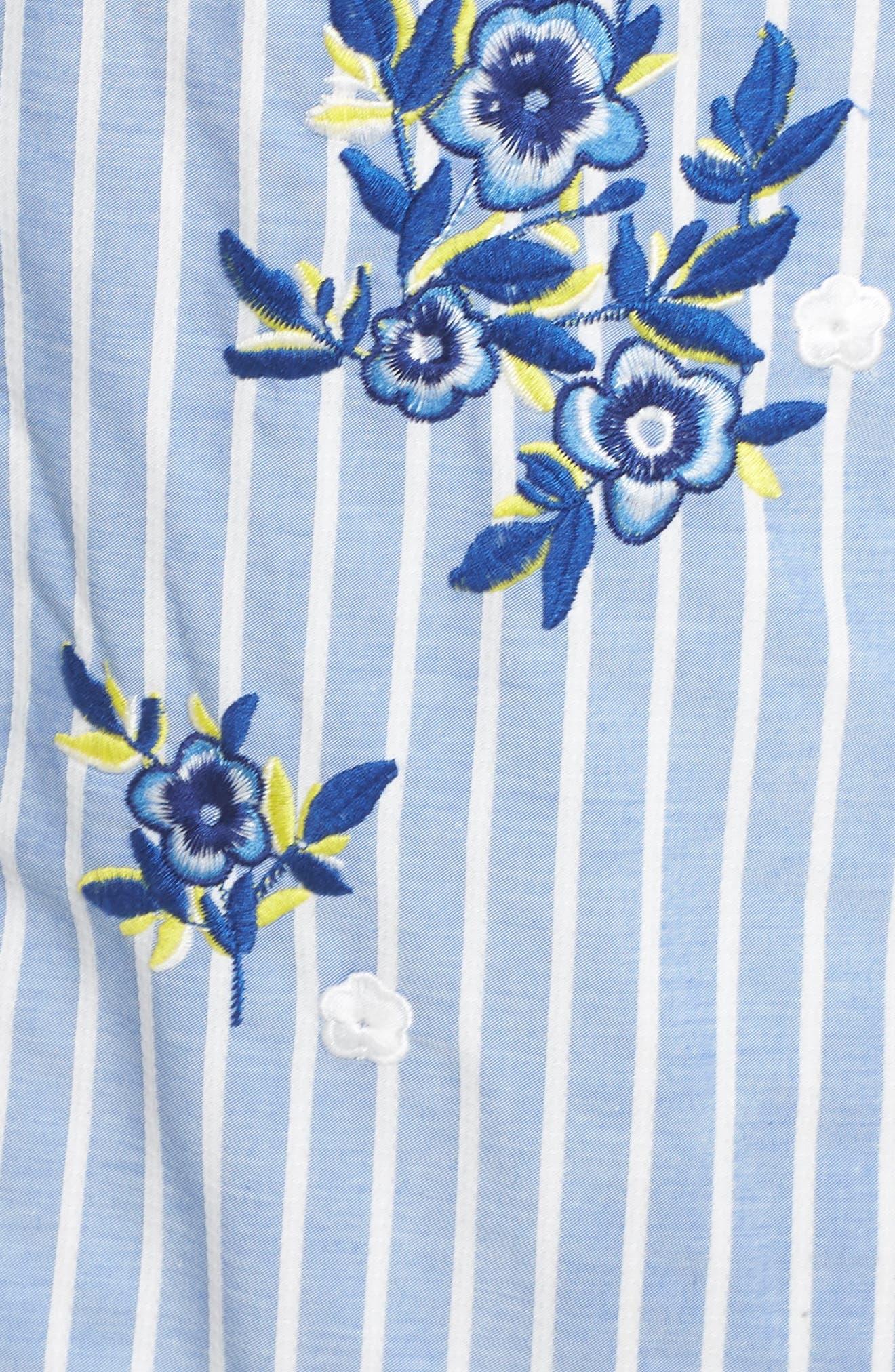 Embroidered Stripe Wrap Dress,                             Alternate thumbnail 6, color,                             BLUE/ WHITE