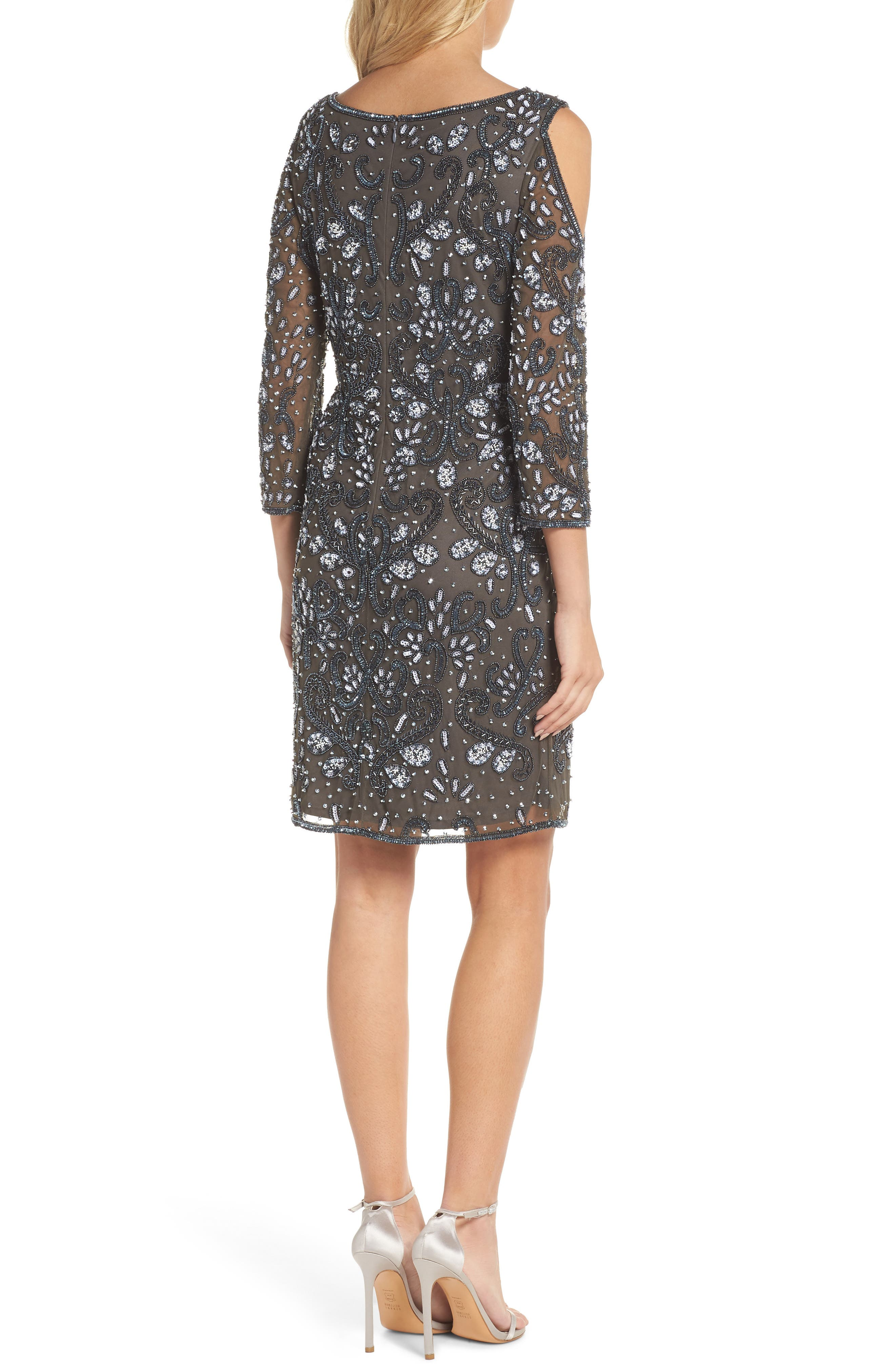 Embellished Mesh Sheath Dress,                             Alternate thumbnail 2, color,                             021