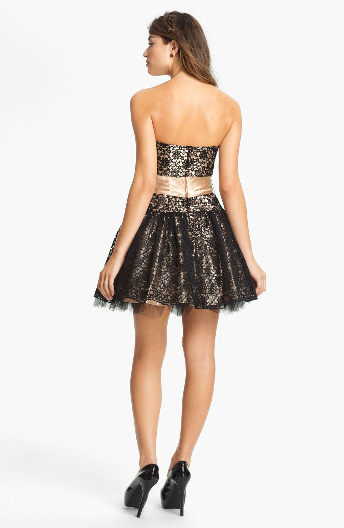 Strapless Lace & Tulle Dress,                             Alternate thumbnail 2, color,                             003