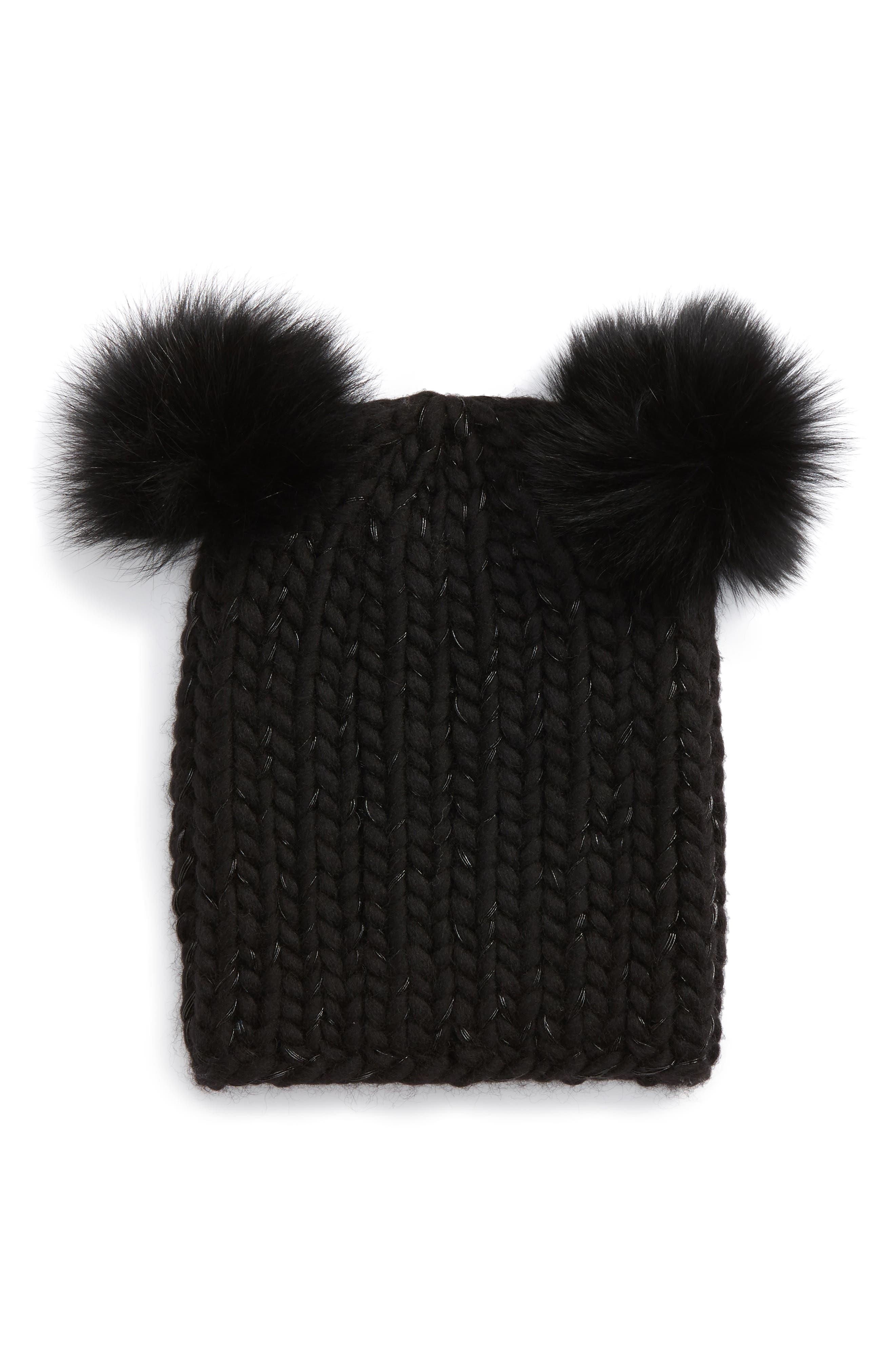 Mimi Beanie with Genuine Fox Fur Pompoms,                             Main thumbnail 1, color,                             001