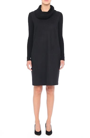 Cancan Wool Jersey Dress with Removable Knit Cowl, video thumbnail