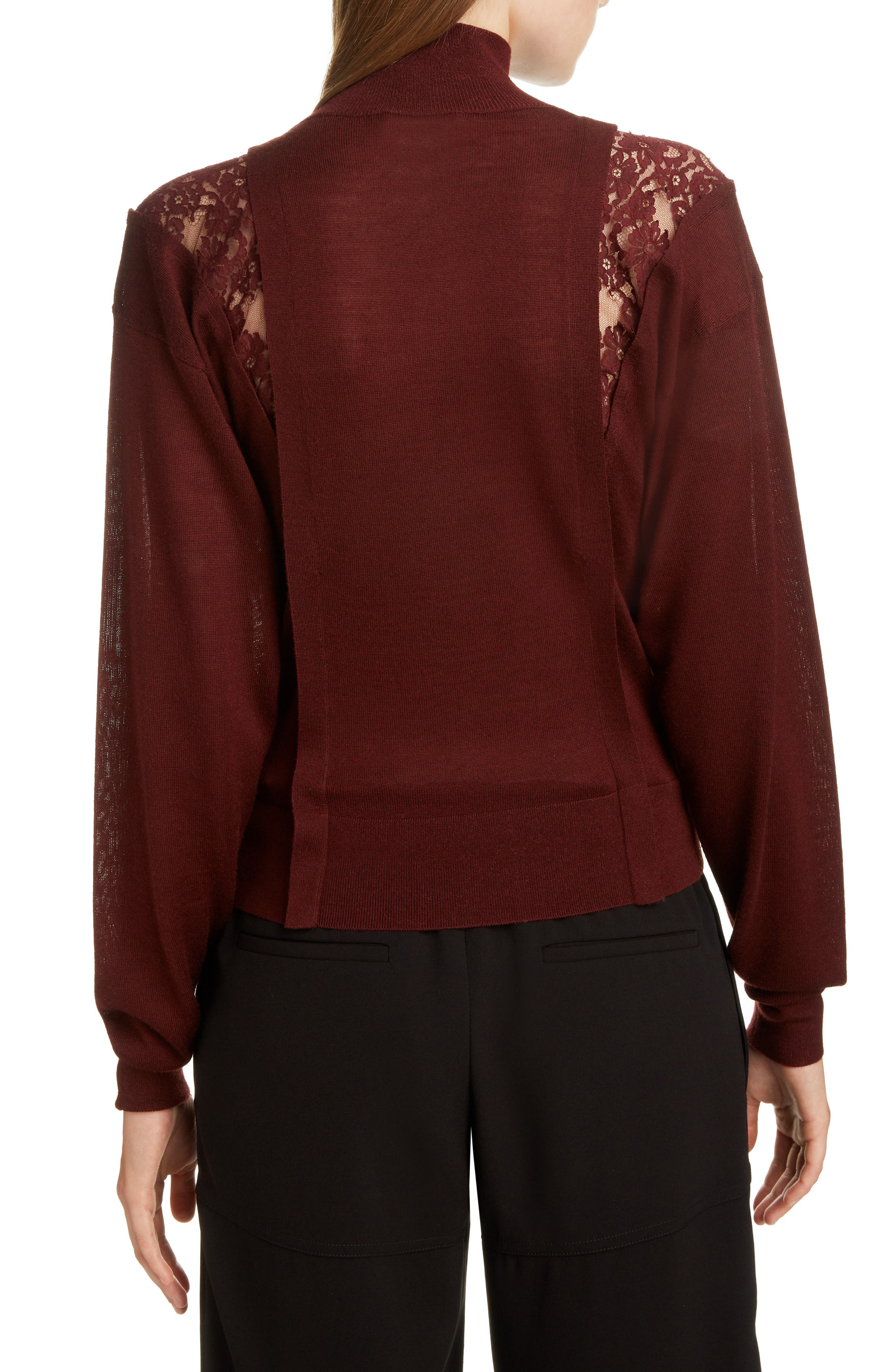 Lace Inset Wool & Silk Sweater,                             Alternate thumbnail 2, color,                             DARK RED