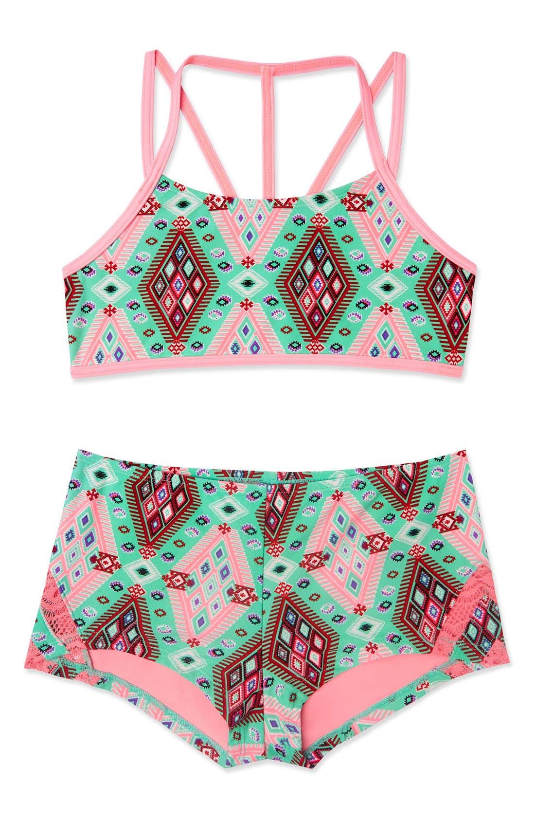 'Aztec Harvest' Print Two-Piece Swimsuit,                         Main,                         color, 300