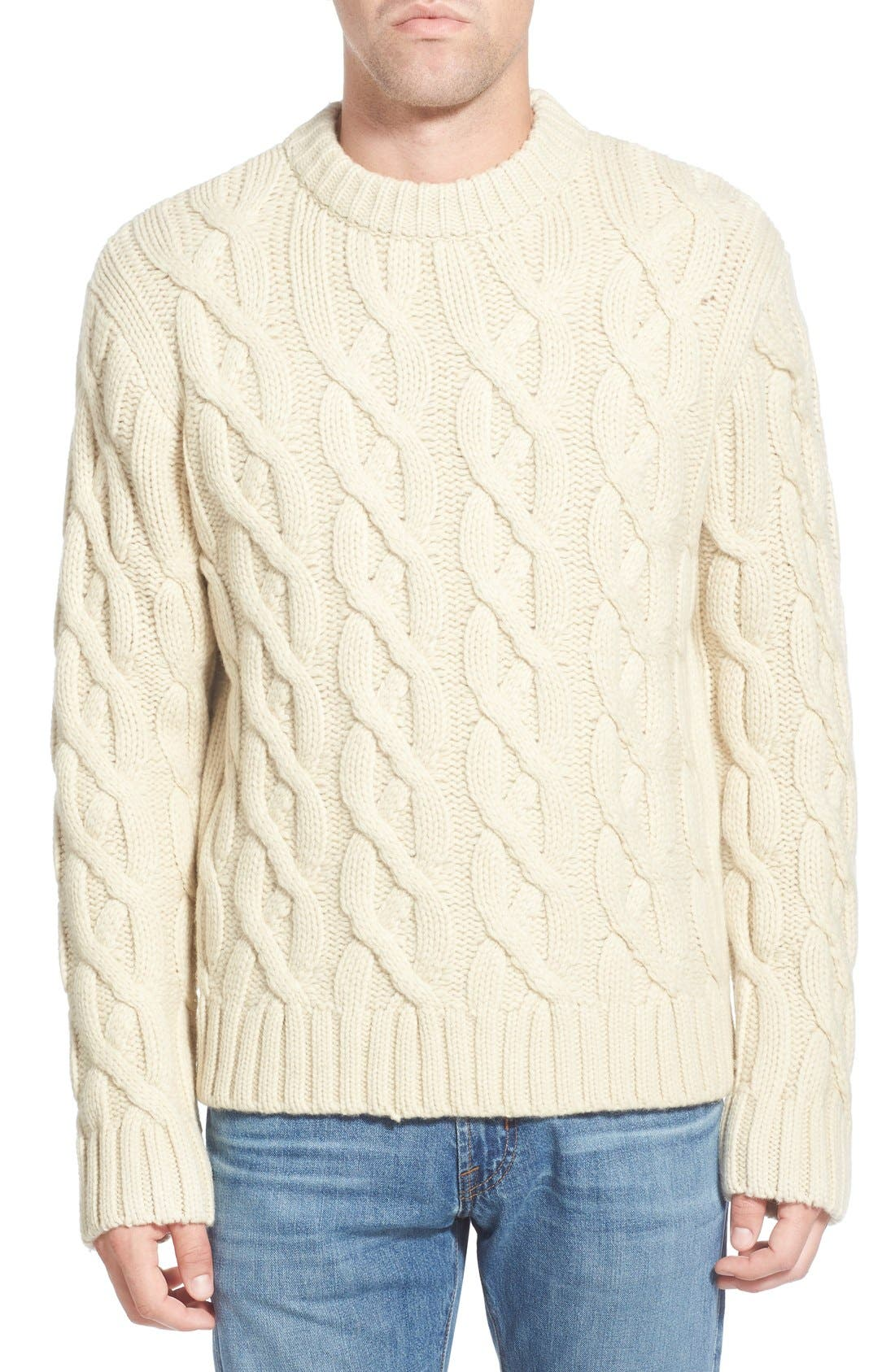 Regular Fit Cable Knit Crewneck Wool Blend Sweater,                             Main thumbnail 2, color,