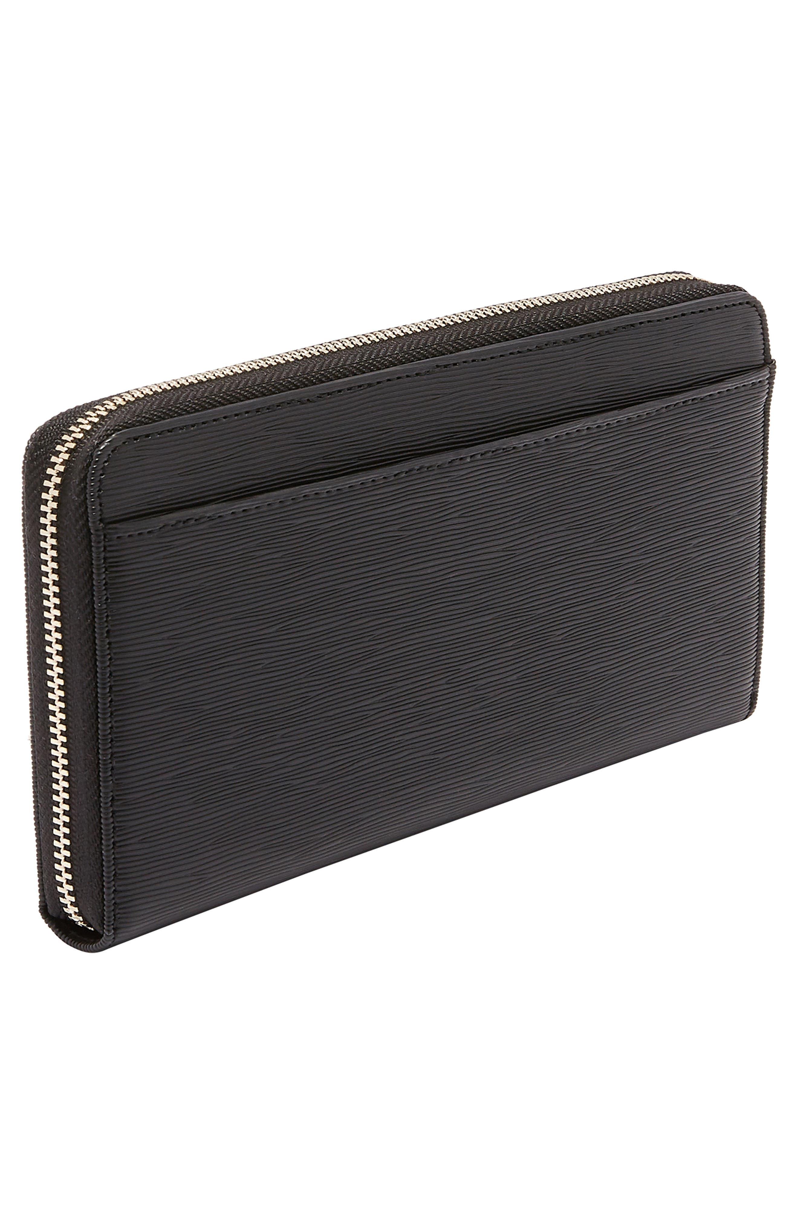 Peony Plissé Leather Matinee Wallet,                             Alternate thumbnail 5, color,                             001
