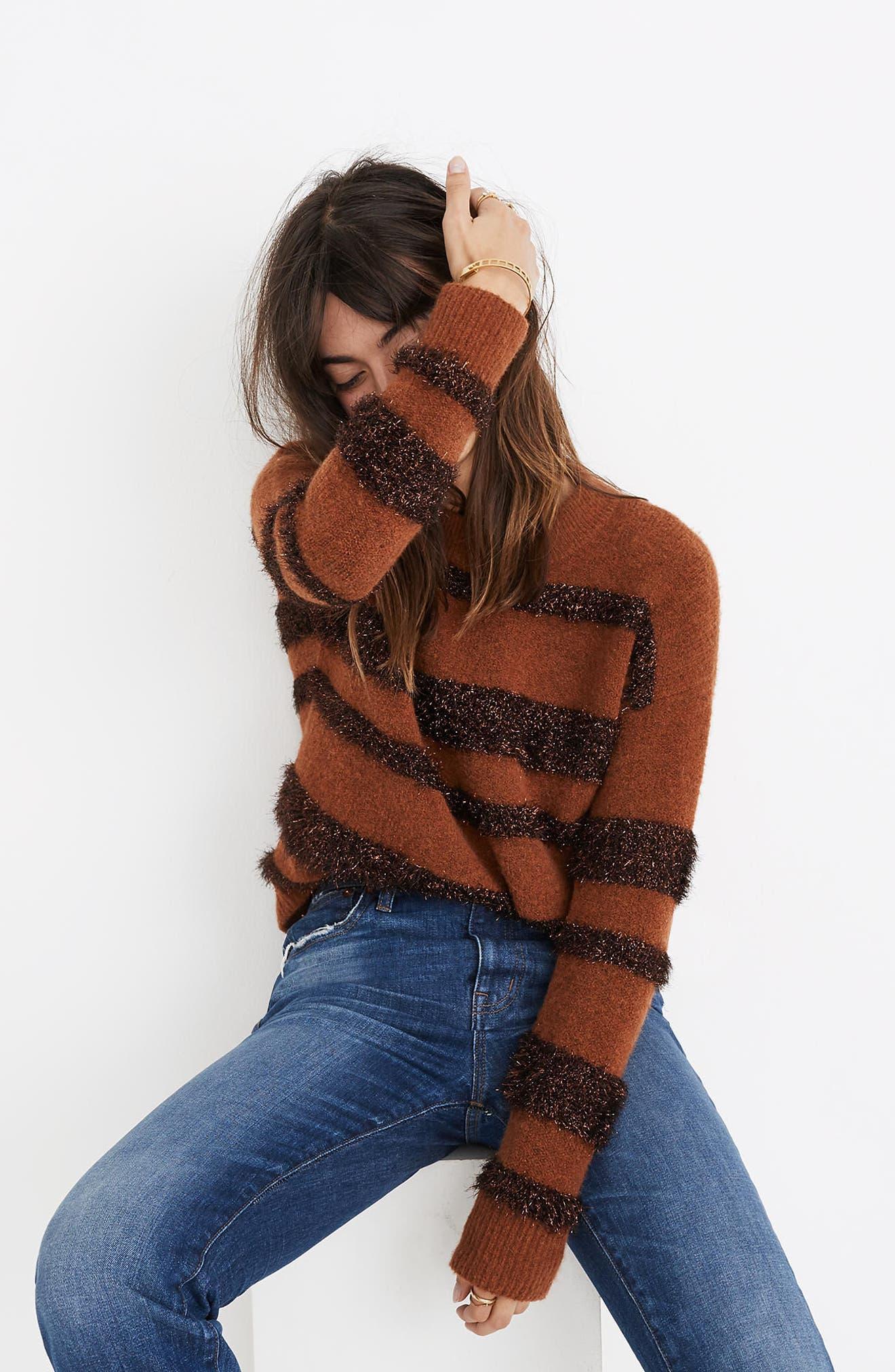 Tinsel Stripe Sweater,                             Alternate thumbnail 4, color,                             200