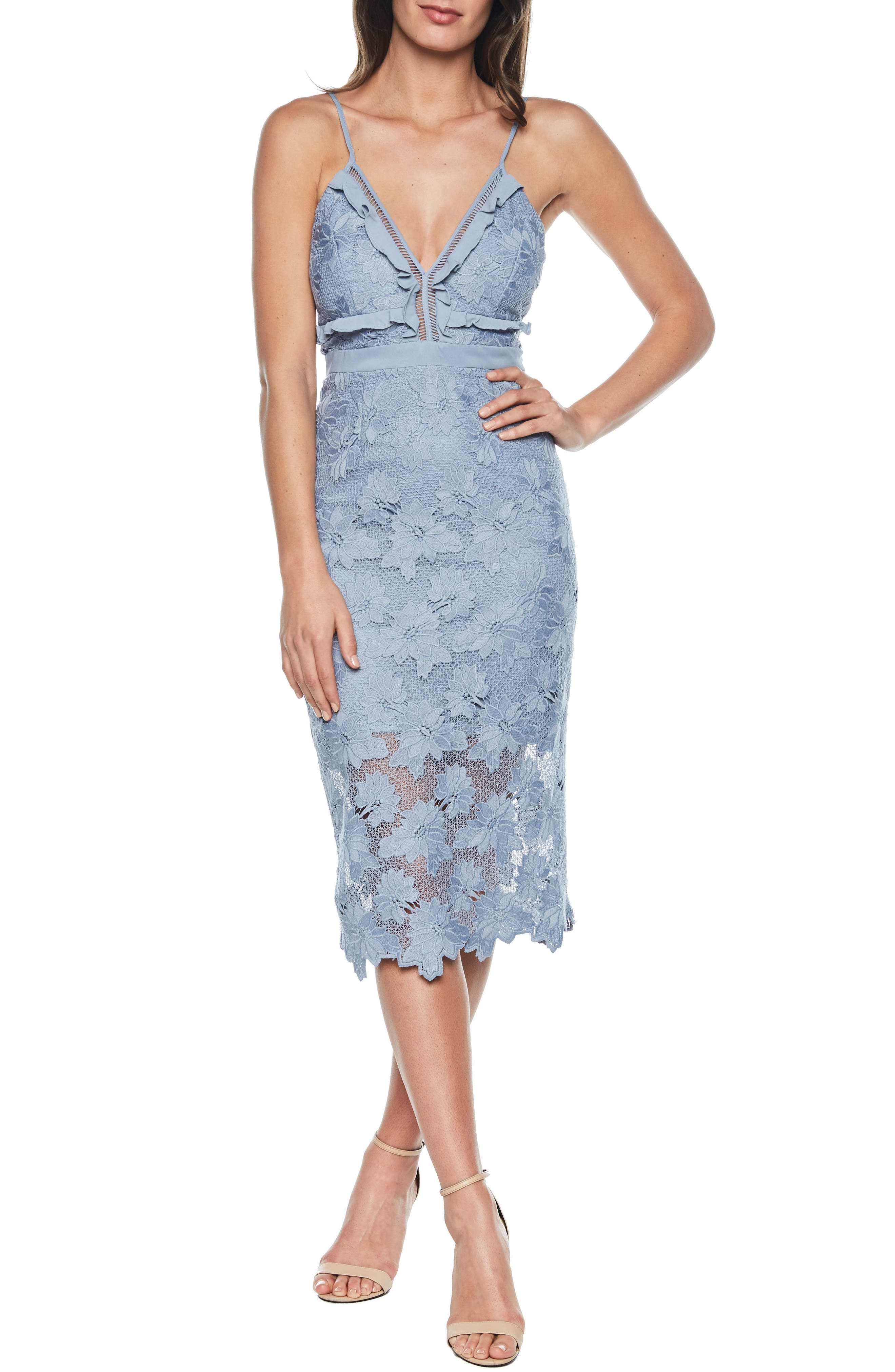 Vienna Lace Overlay Dress,                             Main thumbnail 1, color,                             DUSTY BLUE