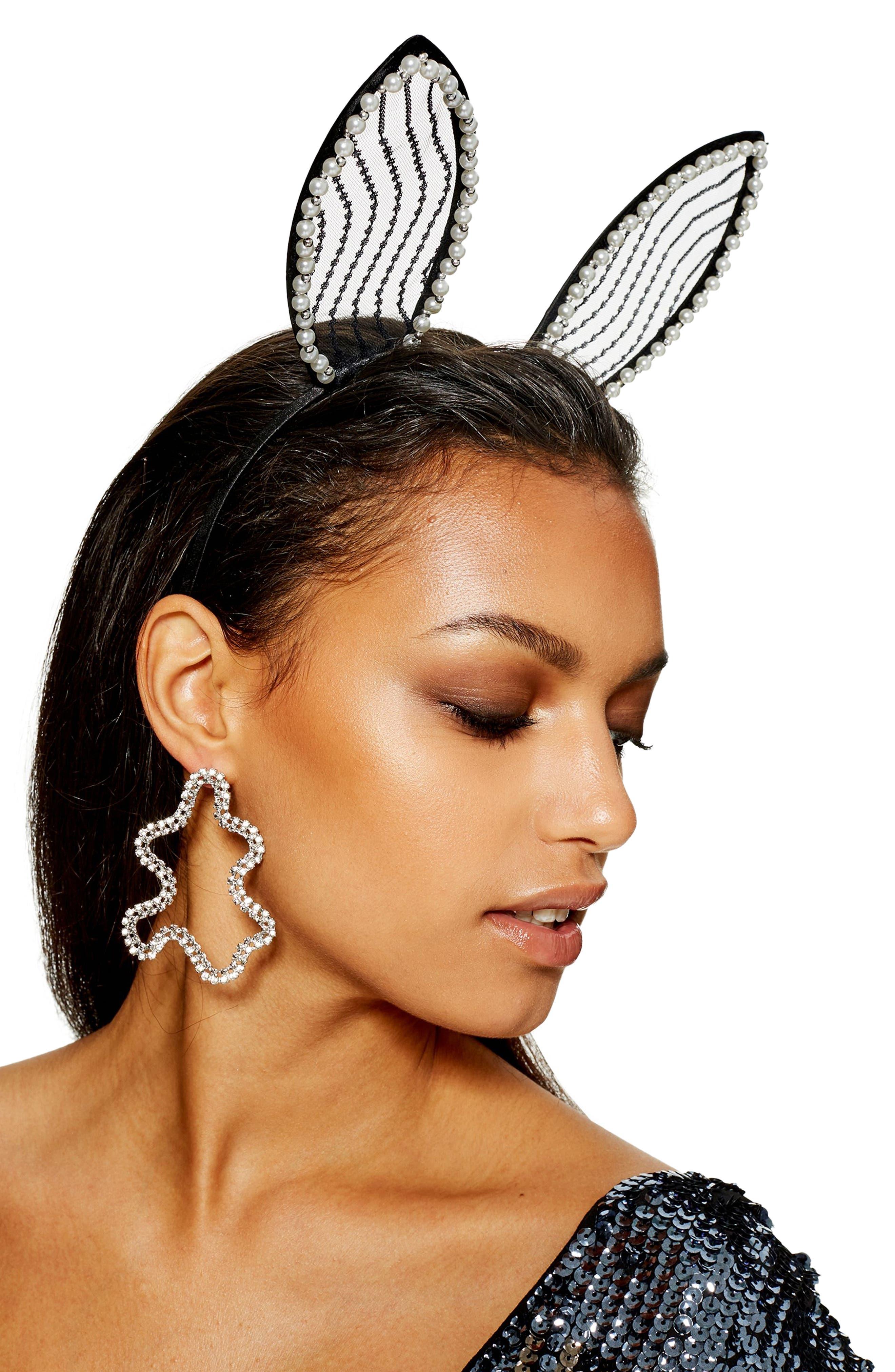 Imitation Pearl Bunny Ears,                             Alternate thumbnail 3, color,                             002