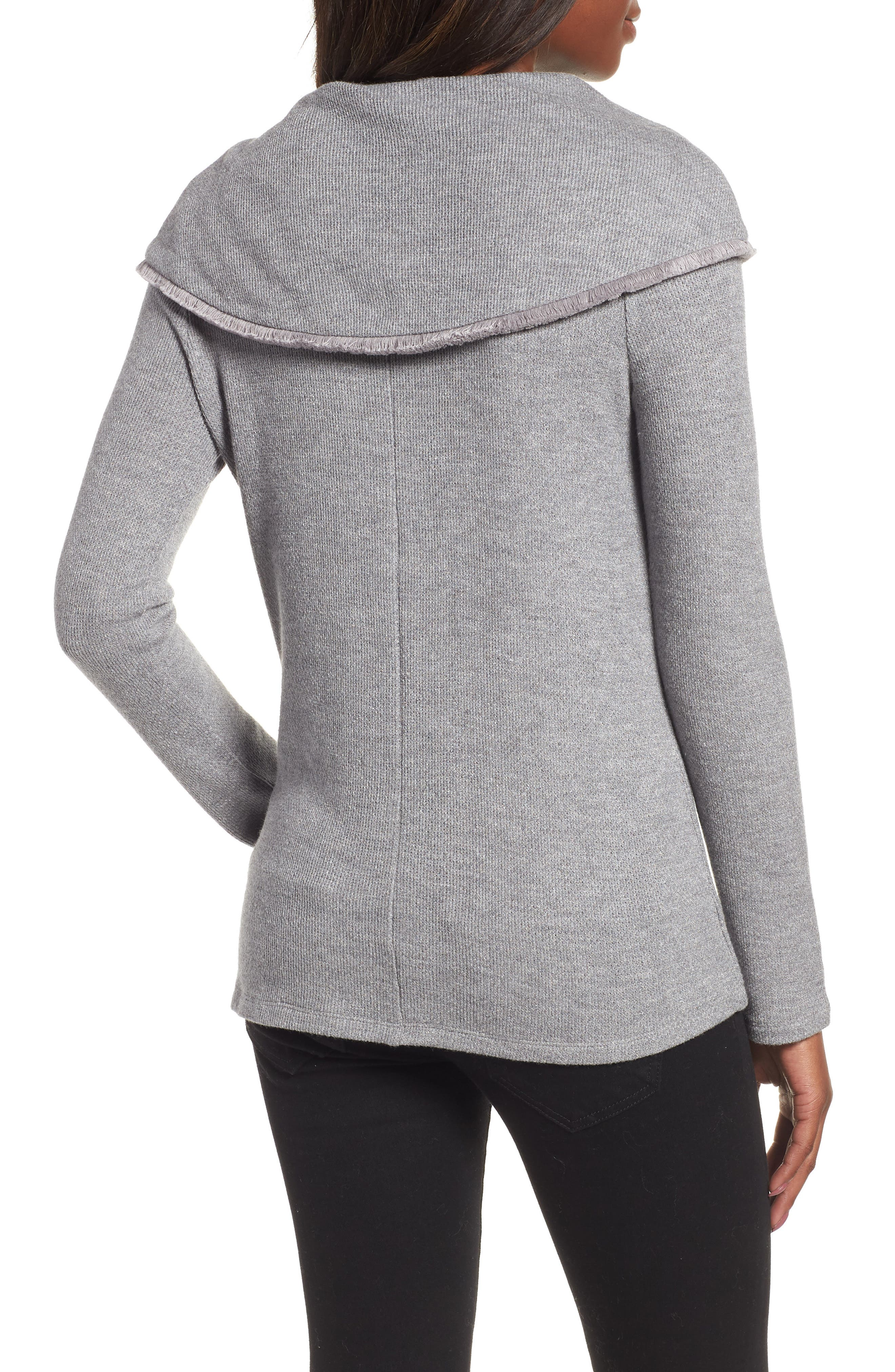 Long Sleeve Cowl Neck Sweater,                             Alternate thumbnail 2, color,                             LUXE GREY