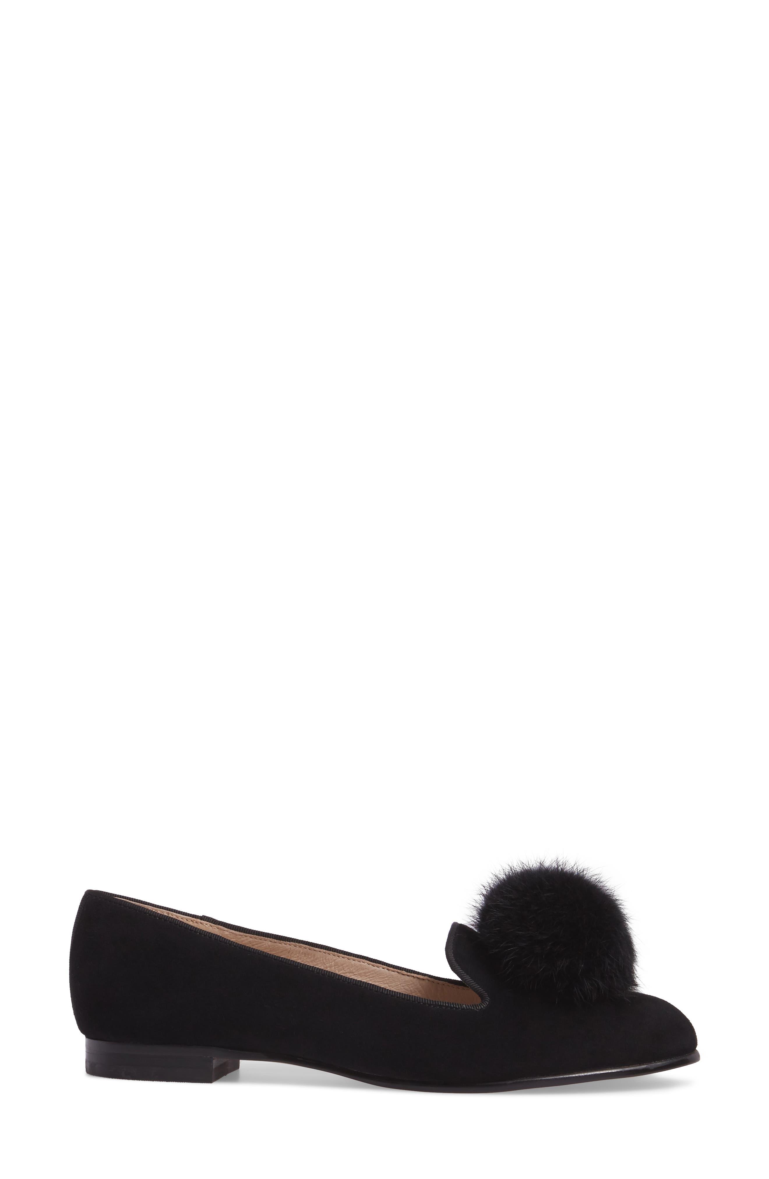 Andres Genuine Rabbit Fur Pom Loafer,                             Alternate thumbnail 3, color,                             BLACK SUEDE