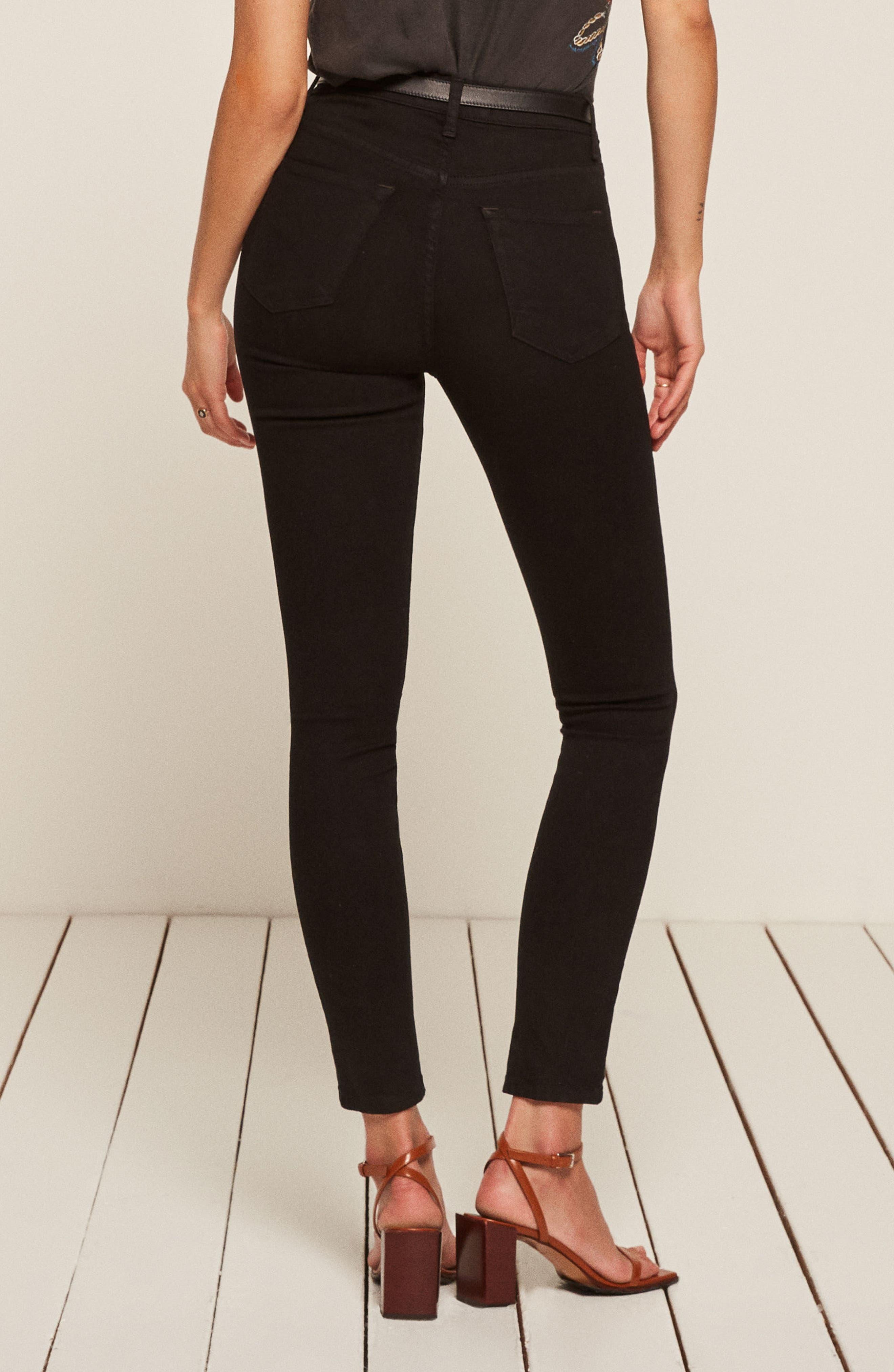 REFORMATION,                             High & Skinny Jeans,                             Alternate thumbnail 2, color,                             BLACK