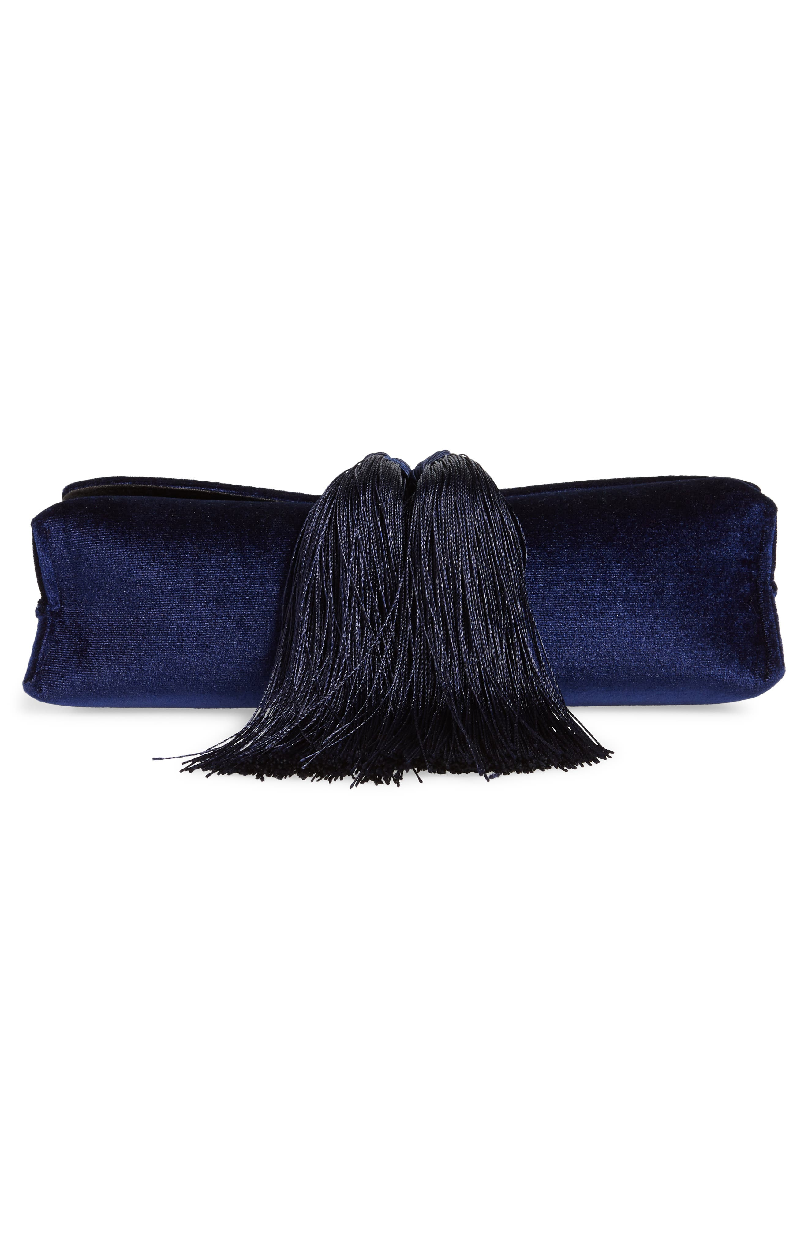Kasia Beaded Dragonfly Velvet Clutch,                             Alternate thumbnail 6, color,                             DARK BLUE