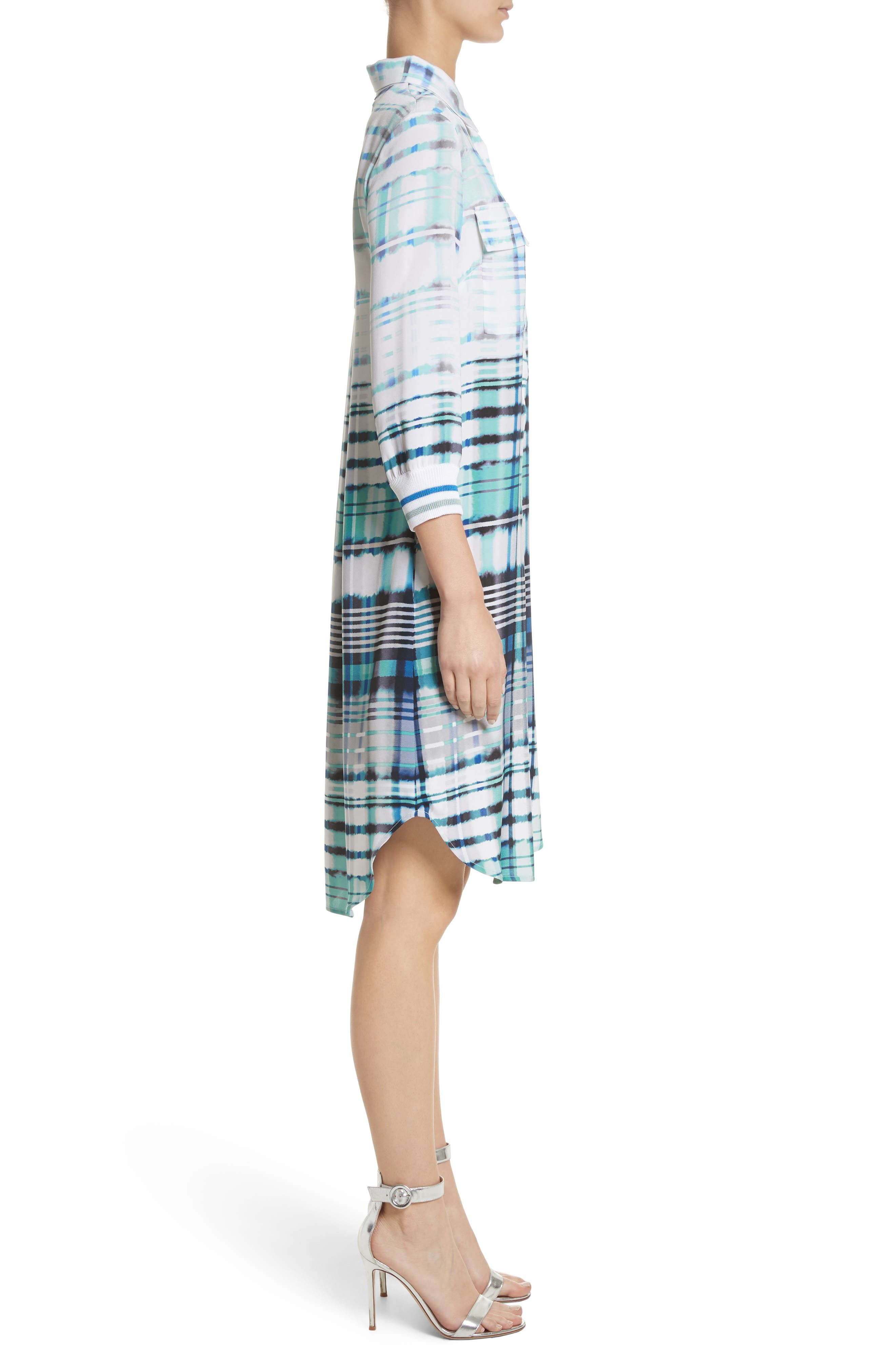 Ombré Plaid Stretch Silk Shirtdress,                             Alternate thumbnail 3, color,                             350
