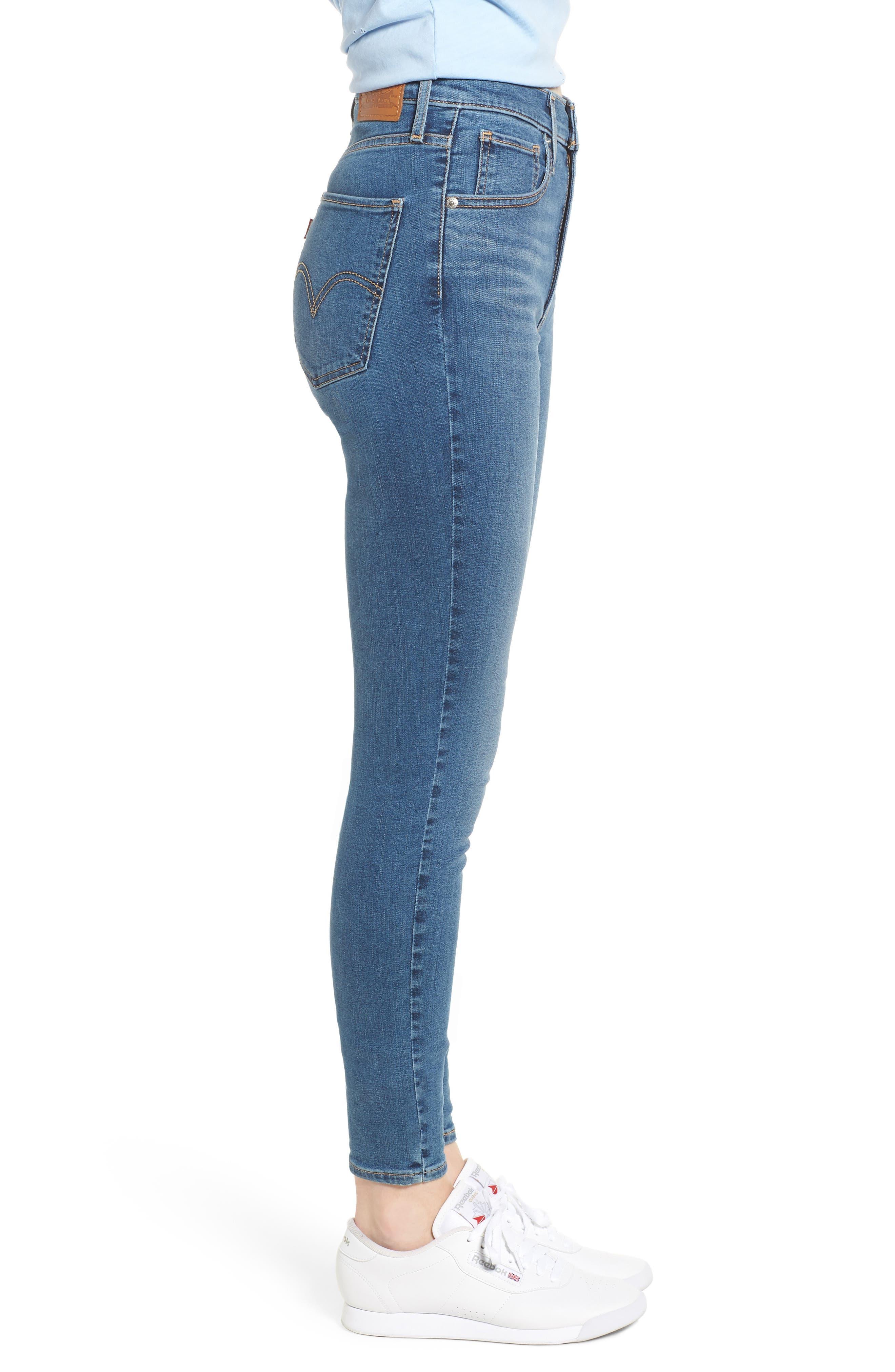 Mile High Super Skinny Jeans,                             Alternate thumbnail 3, color,                             MED BLUE 1