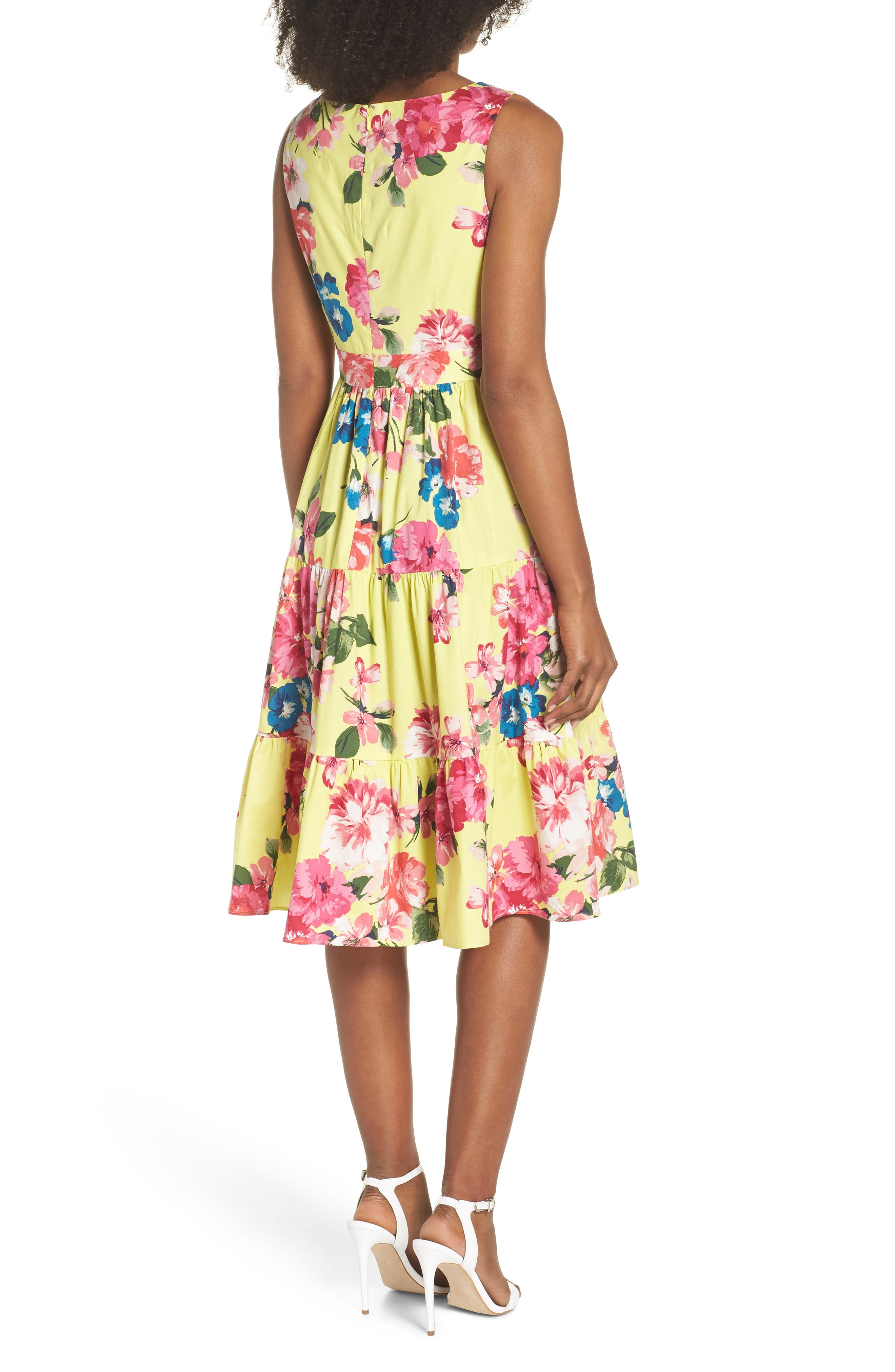 Square Neck Floral Tiered Fit & Flare Midi Dress,                             Alternate thumbnail 2, color,                             720