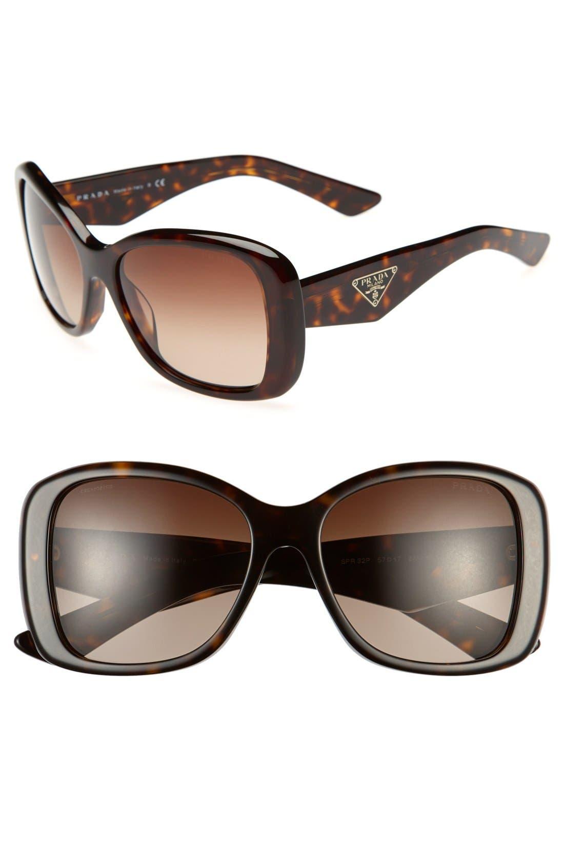 PRADA,                             57mm Oversized Sunglasses,                             Main thumbnail 1, color,                             200