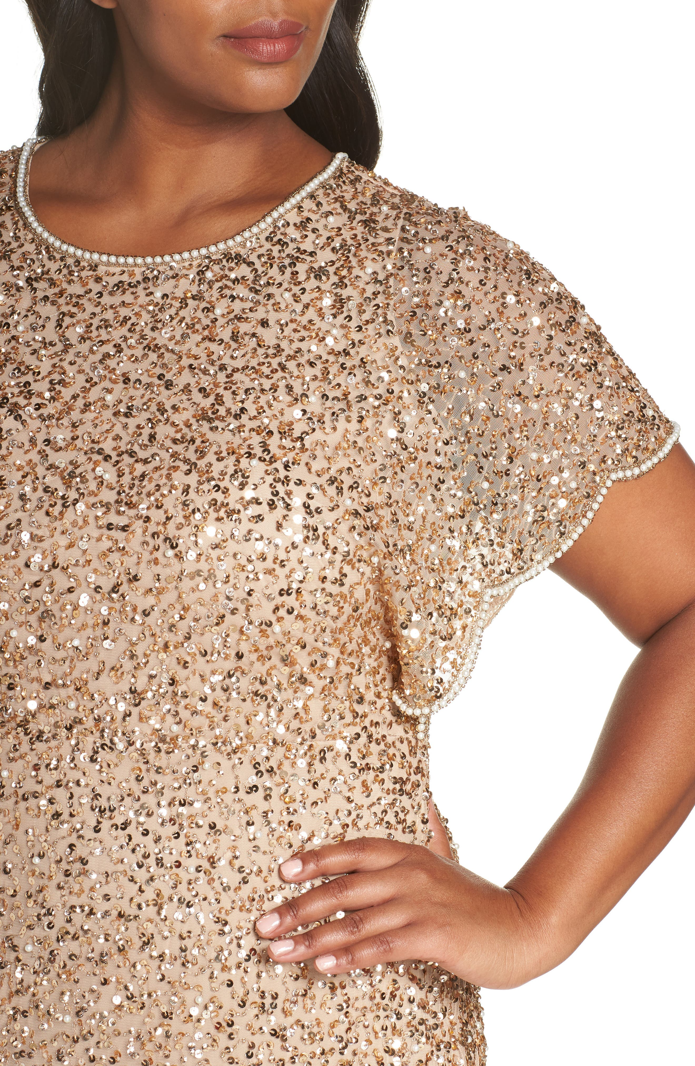 Beaded Flutter Sleeve Sheath Dress,                             Alternate thumbnail 4, color,                             CHAMPAGNE/ GOLD
