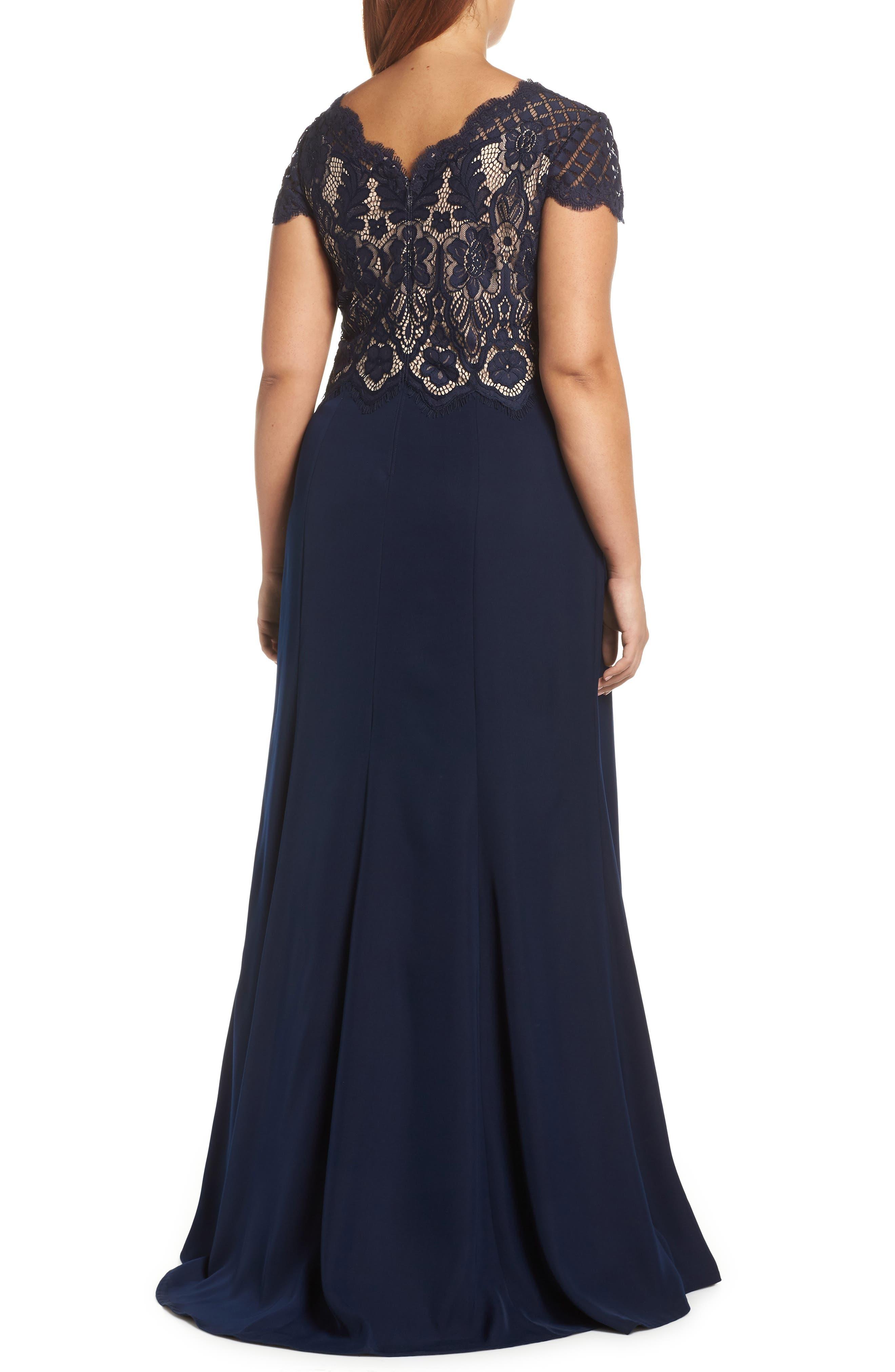 Lace & Crepe A-Line Gown,                             Alternate thumbnail 9, color,                             NAVY/ PETAL