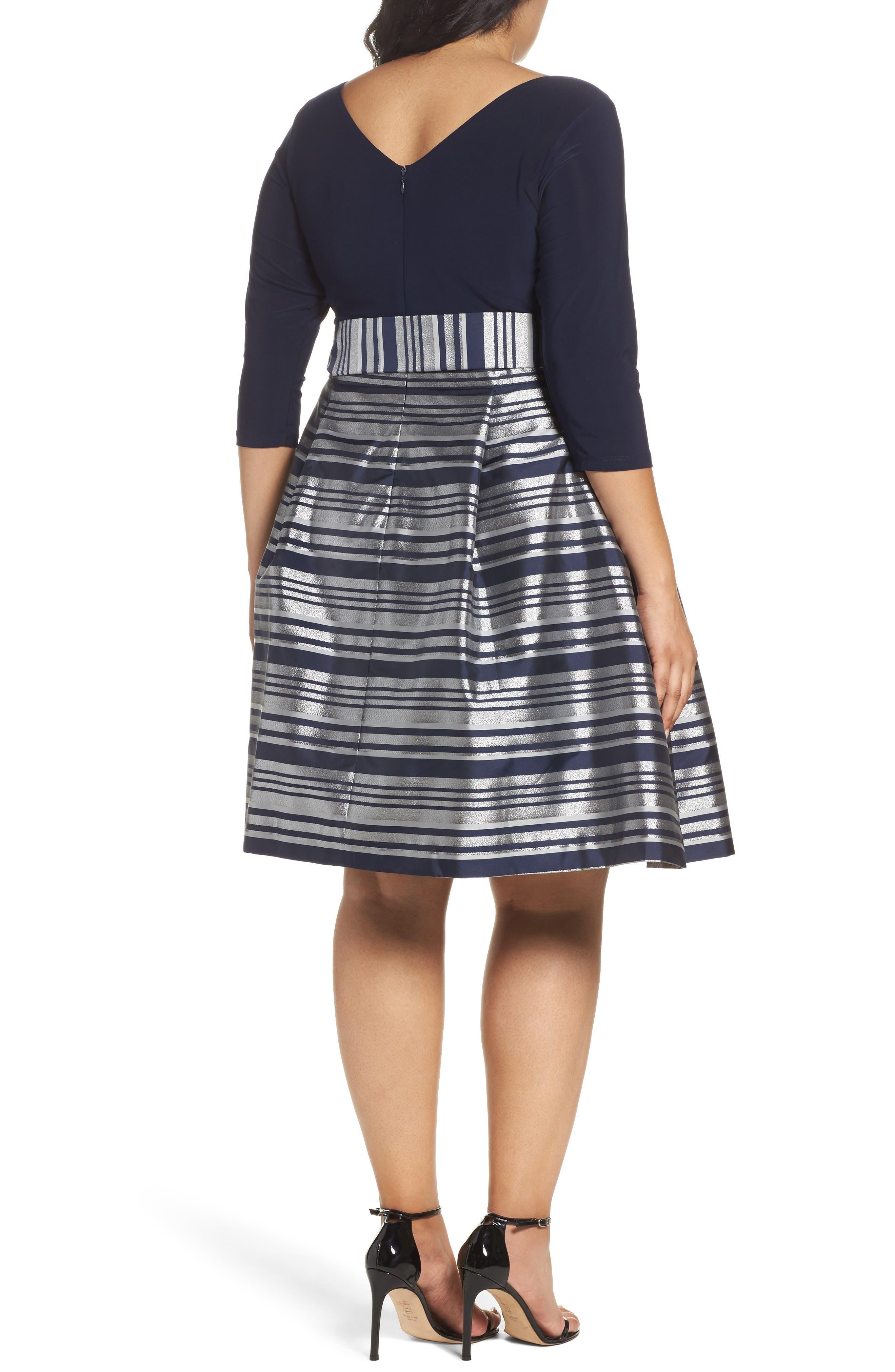 Mixed Media Tie Waist Party Dress,                             Alternate thumbnail 2, color,                             042