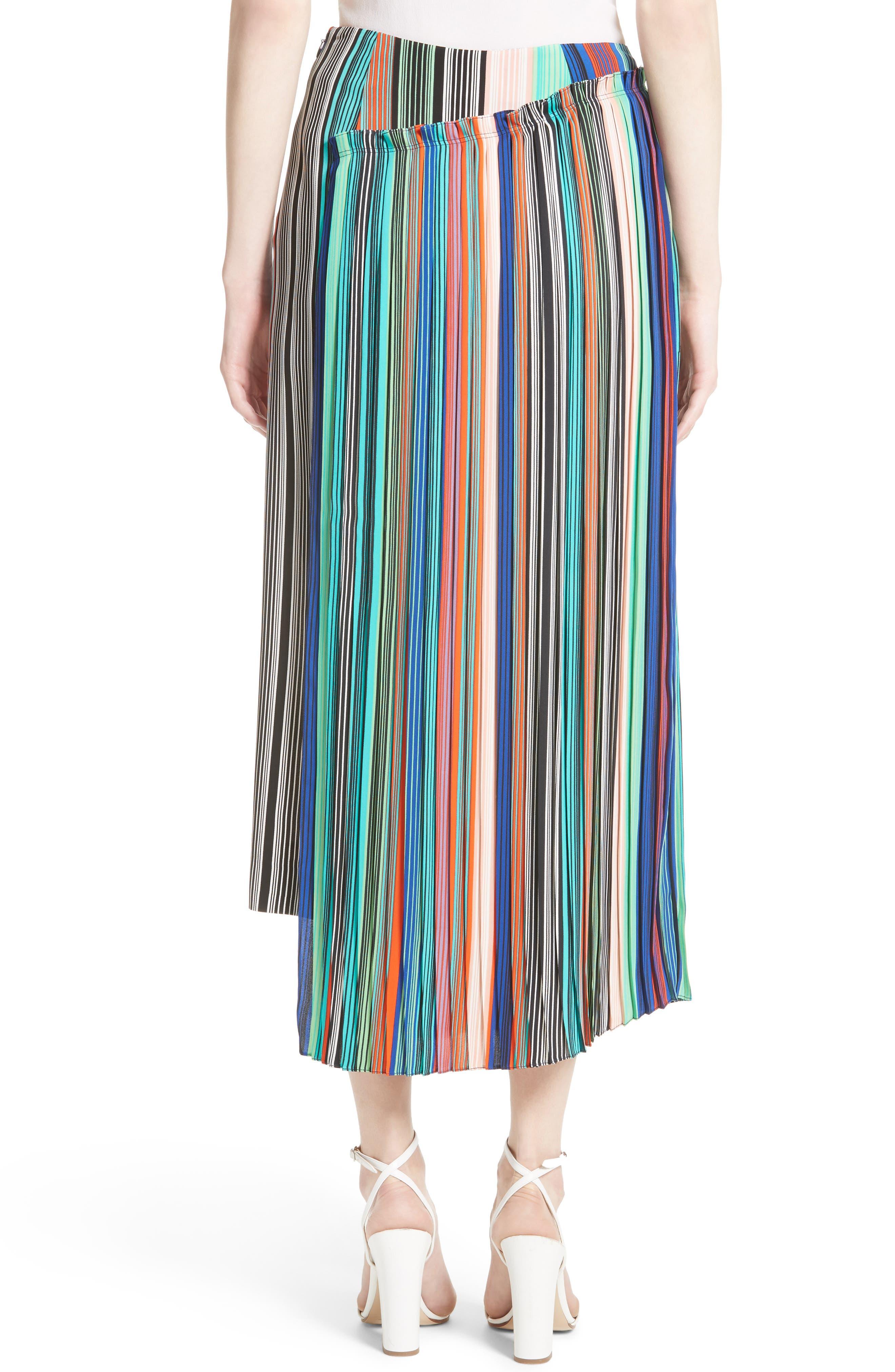 Stripe Asymmetrical Overlay Midi Skirt,                             Alternate thumbnail 2, color,                             207
