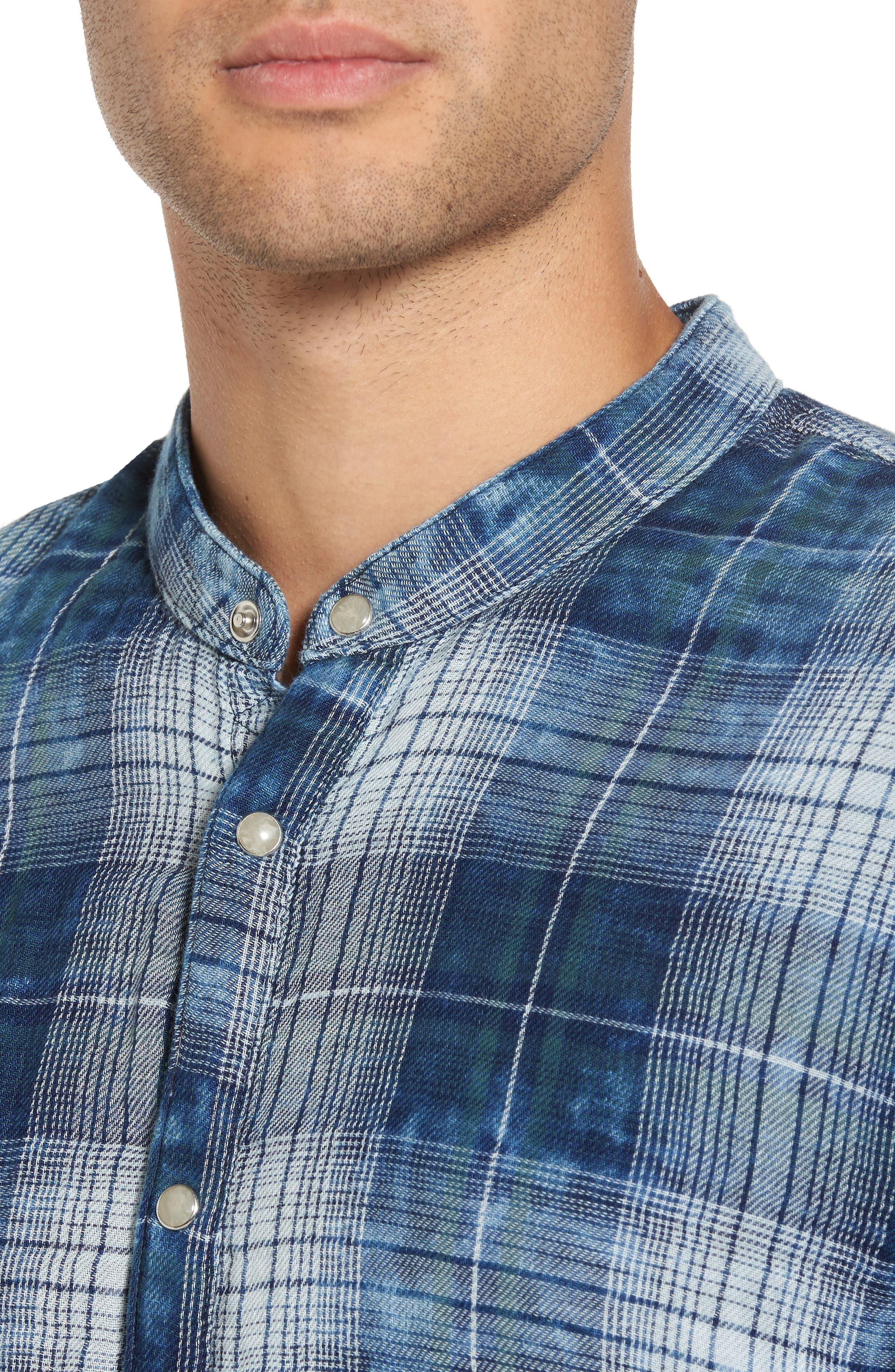 Check Band Collar Sport Shirt,                             Alternate thumbnail 4, color,