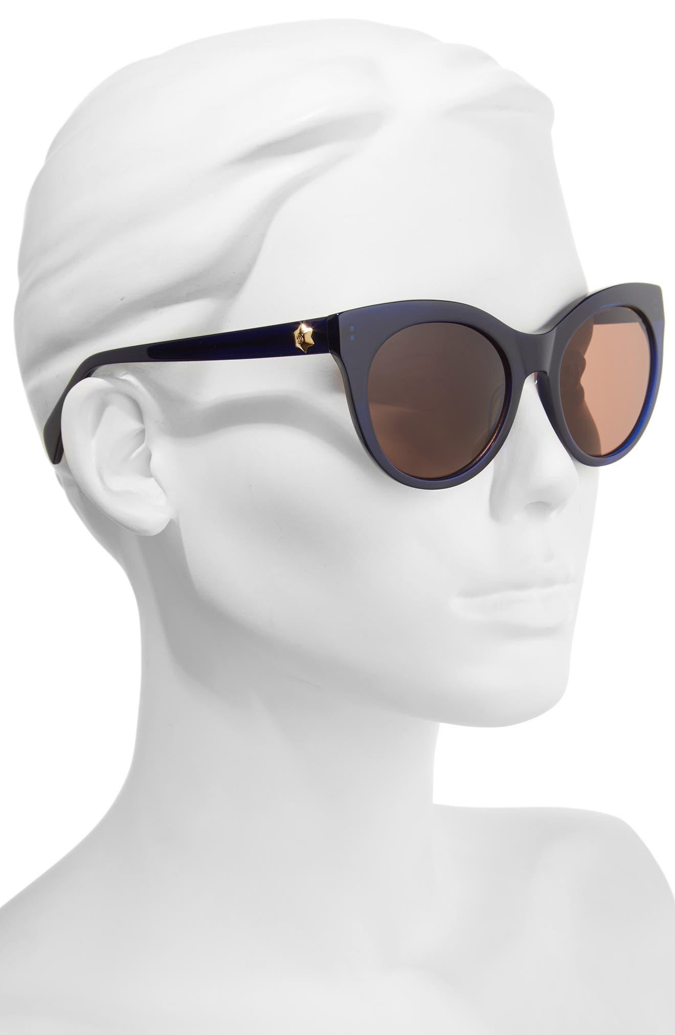 52mm Round Cat Eye Sunglasses,                             Alternate thumbnail 7, color,