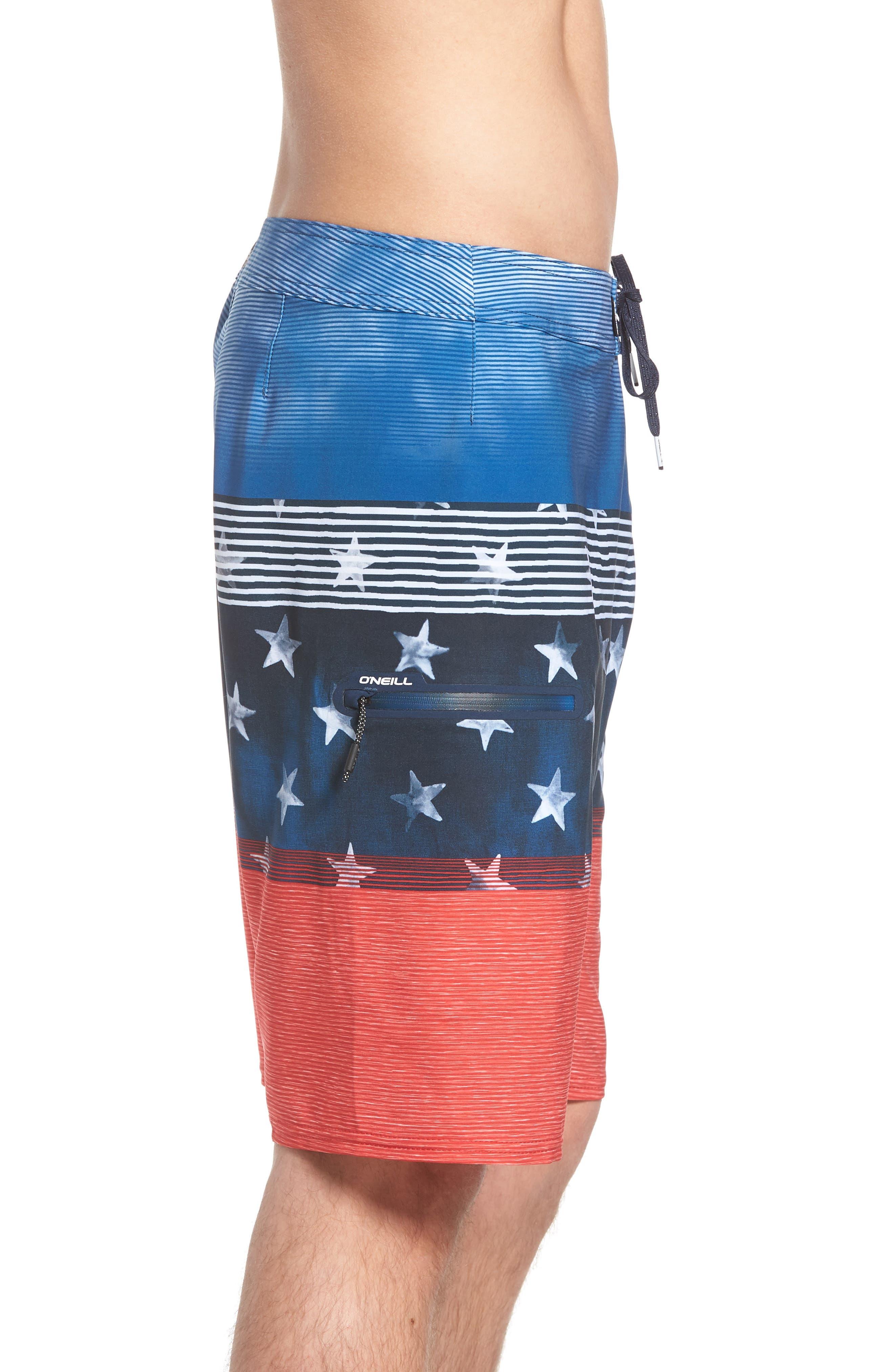 Hyperfreak Board Shorts,                             Alternate thumbnail 3, color,                             RED WHITE BLUE