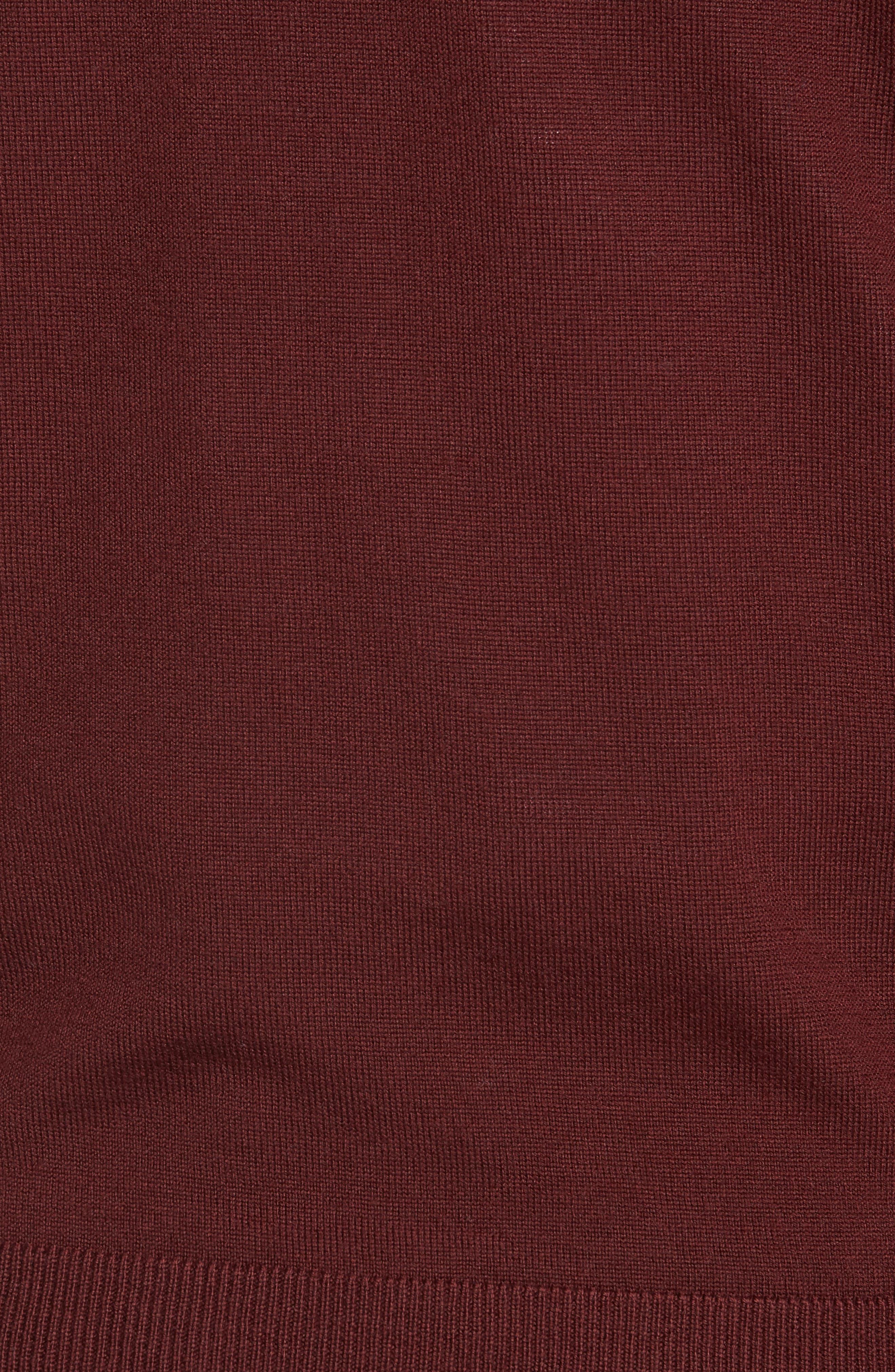 Quarter Zip Wool Pullover,                             Alternate thumbnail 5, color,                             BURGUNDY ROYALE