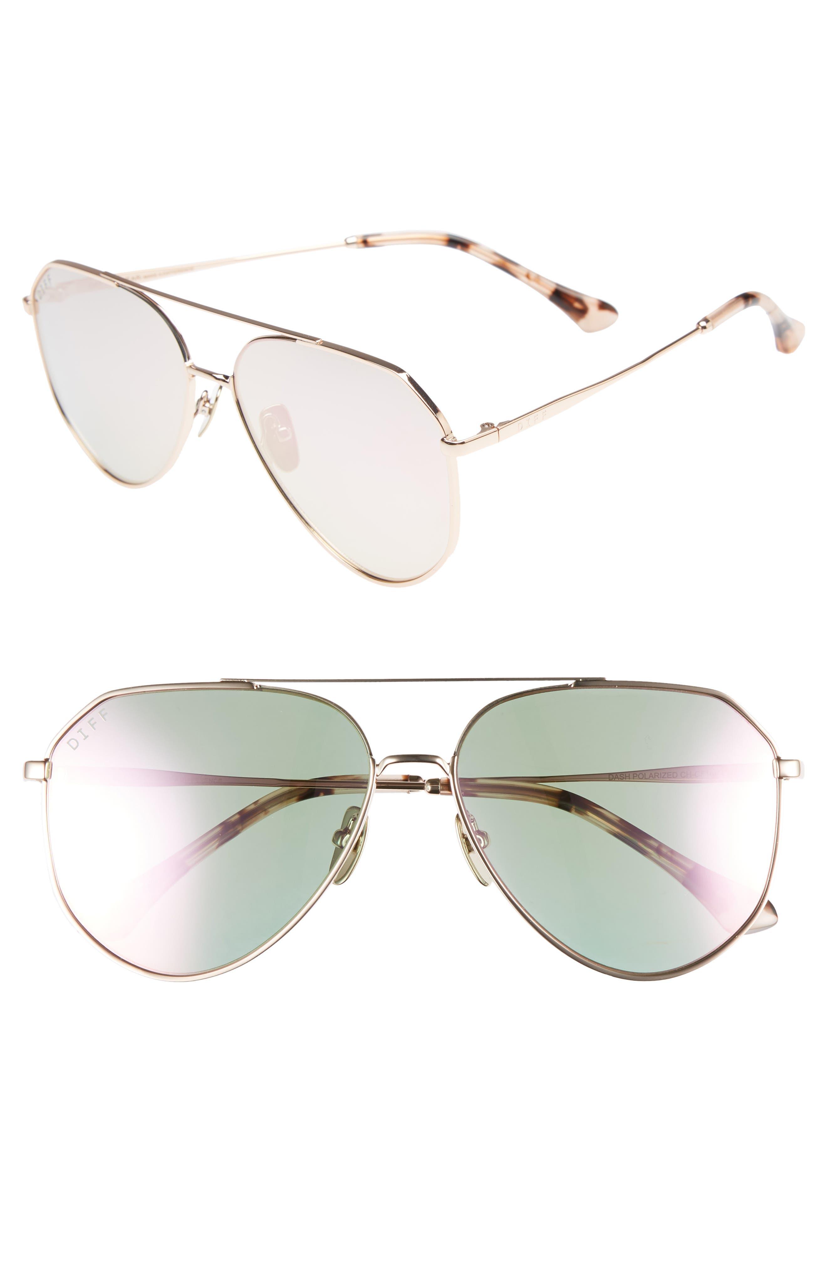 Dash 58mm Aviator Sunglasses,                         Main,                         color, CHAMPAGNE