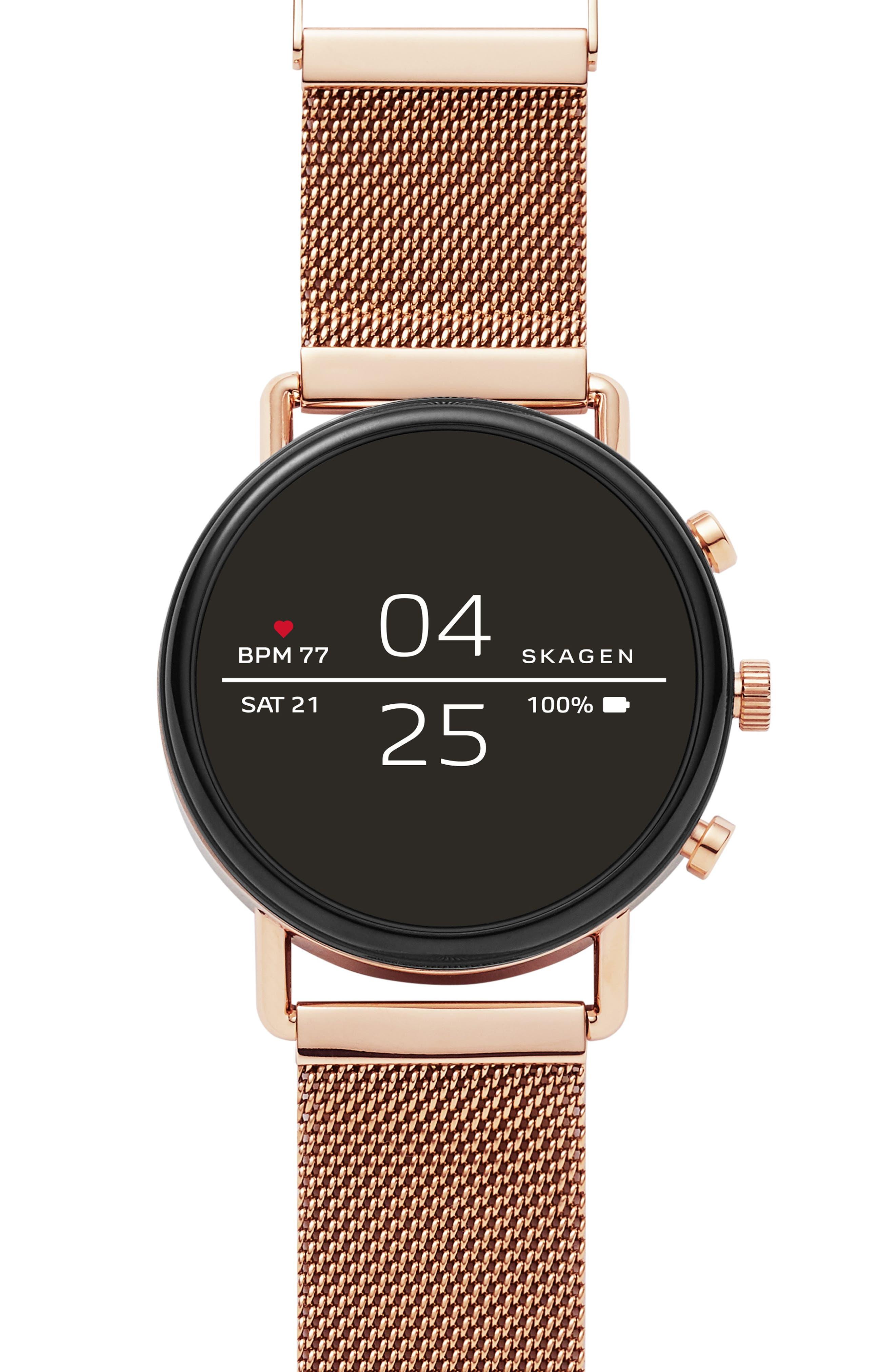 SKAGEN Men'S Falster 2 Rose Gold-Tone Stainless Steel Mesh Bracelet Touchscreen Smart Watch 40Mm in Rosegold