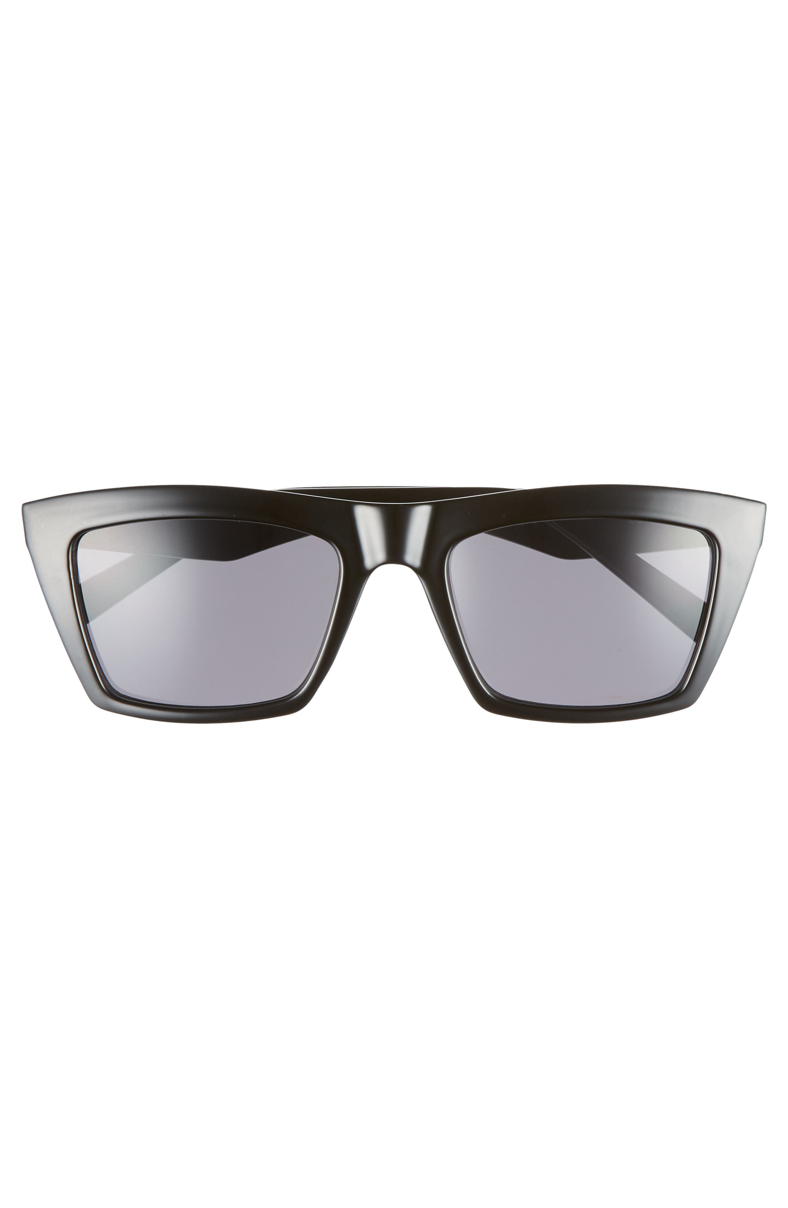 Kamilla 53mm Square Sunglasses,                             Alternate thumbnail 3, color,                             BLACK/ SOLID SMOKE