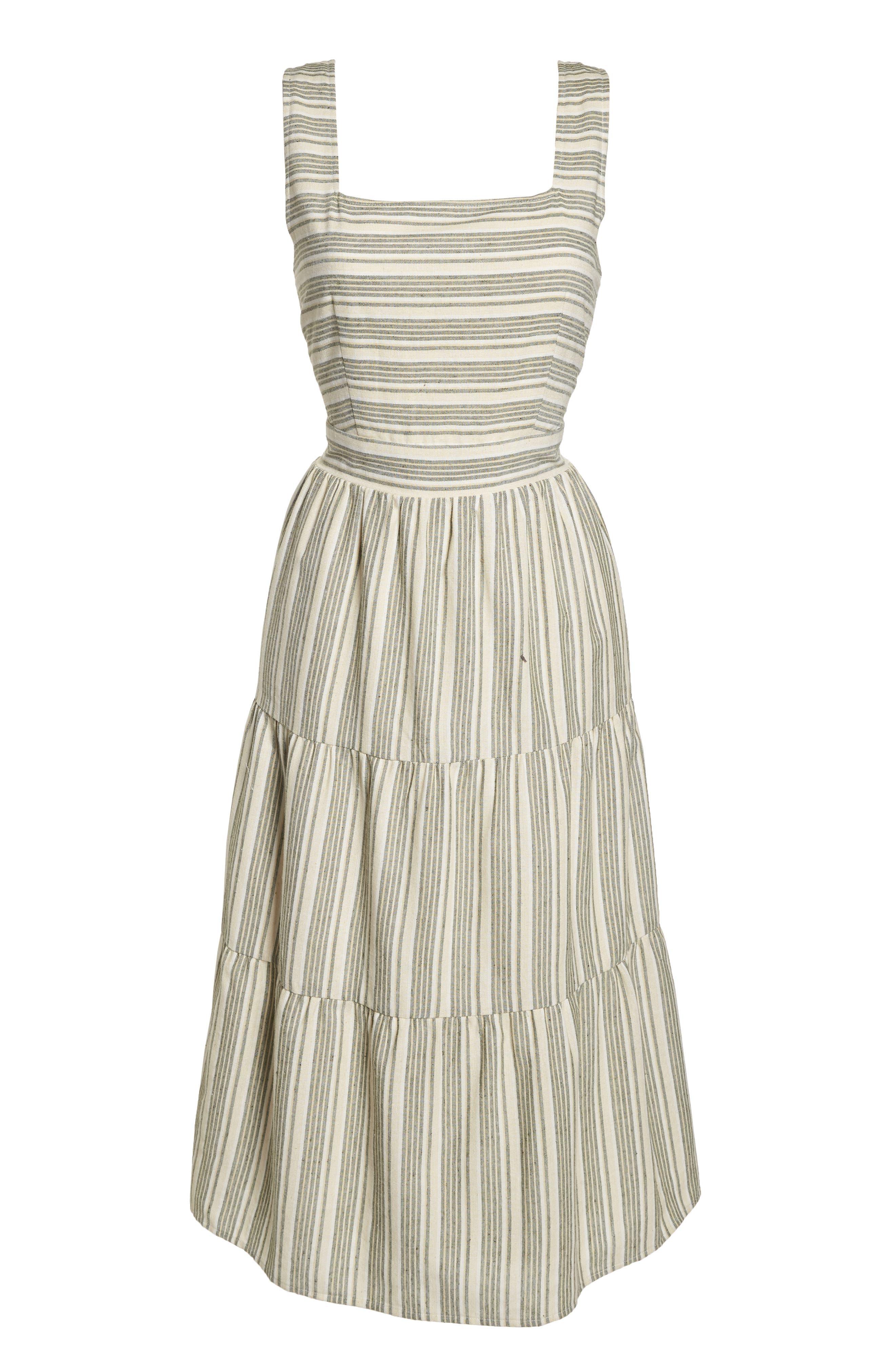 Sleeveless Stripe Midi Dress,                             Alternate thumbnail 7, color,                             300