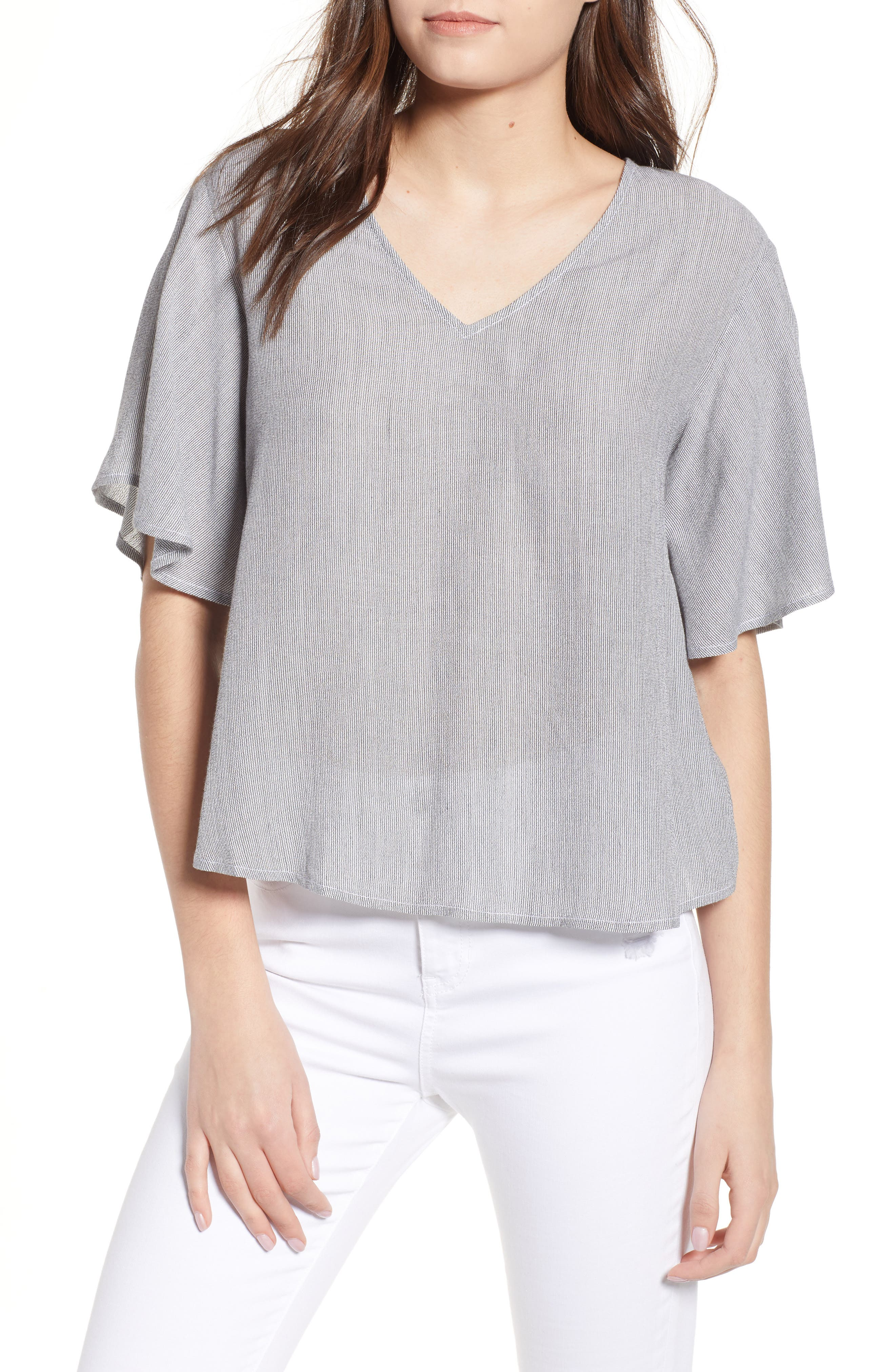 Stripe Flutter Sleeve Top,                             Main thumbnail 1, color,