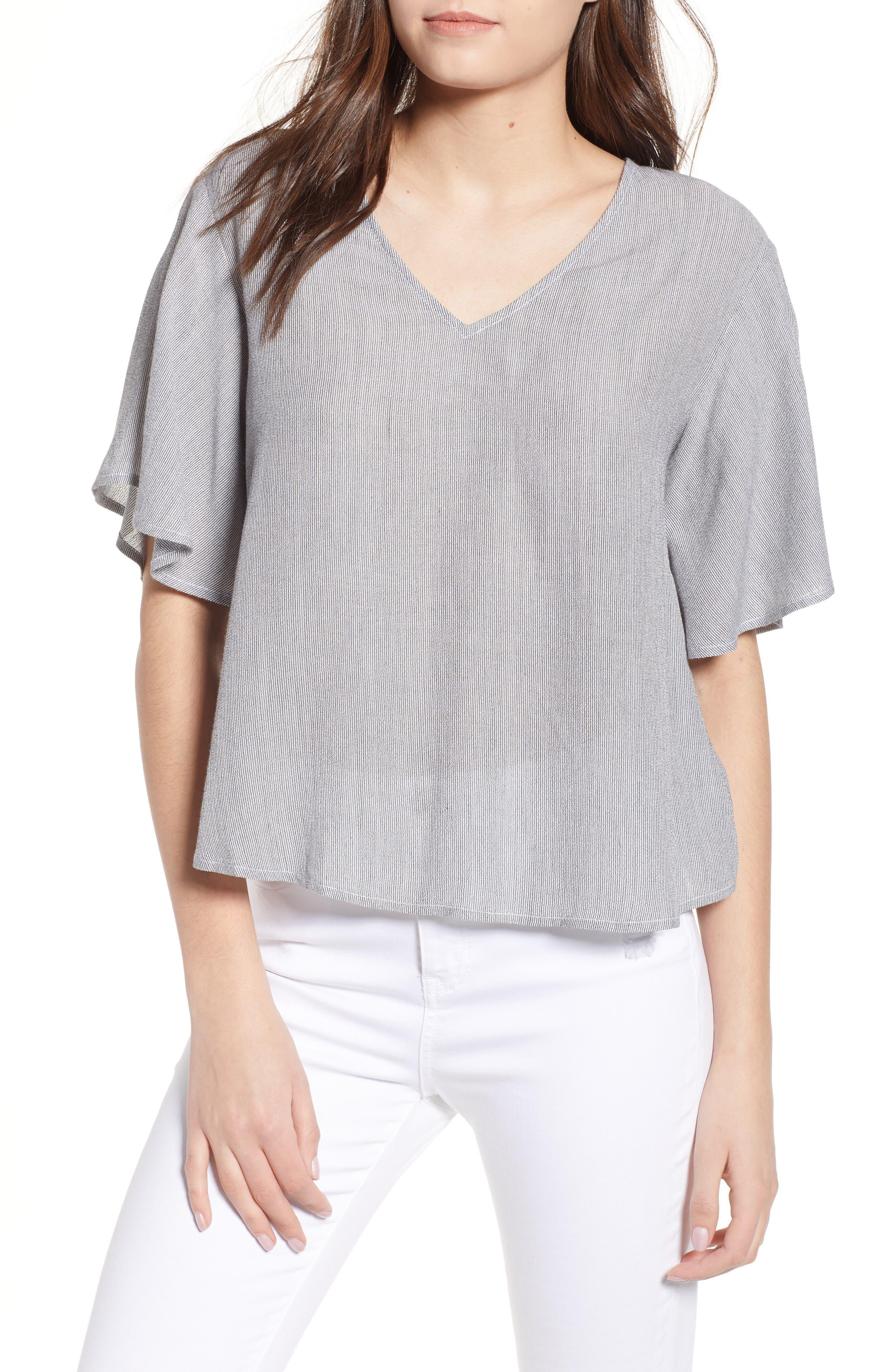 Stripe Flutter Sleeve Top,                         Main,                         color, 001