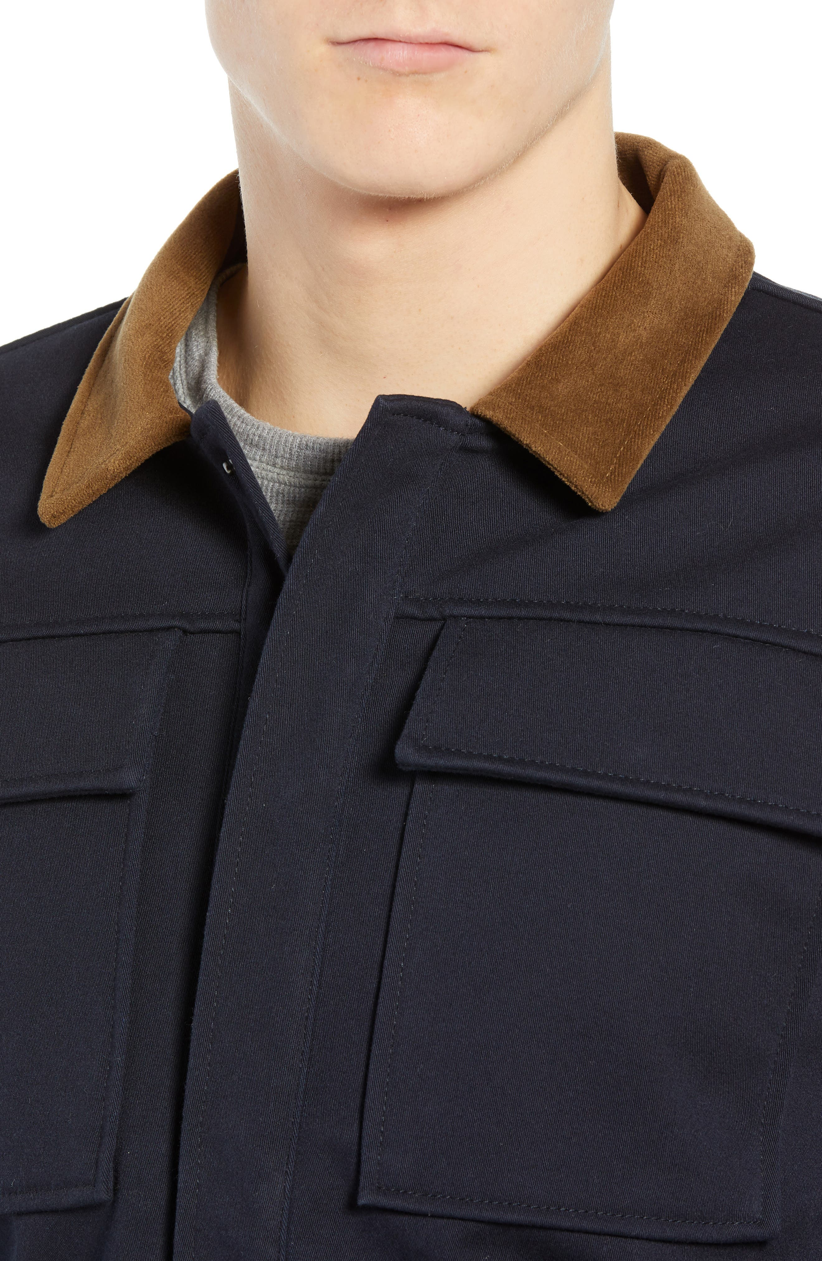Velour Collar Trucker Jacket,                             Alternate thumbnail 4, color,                             NAVY