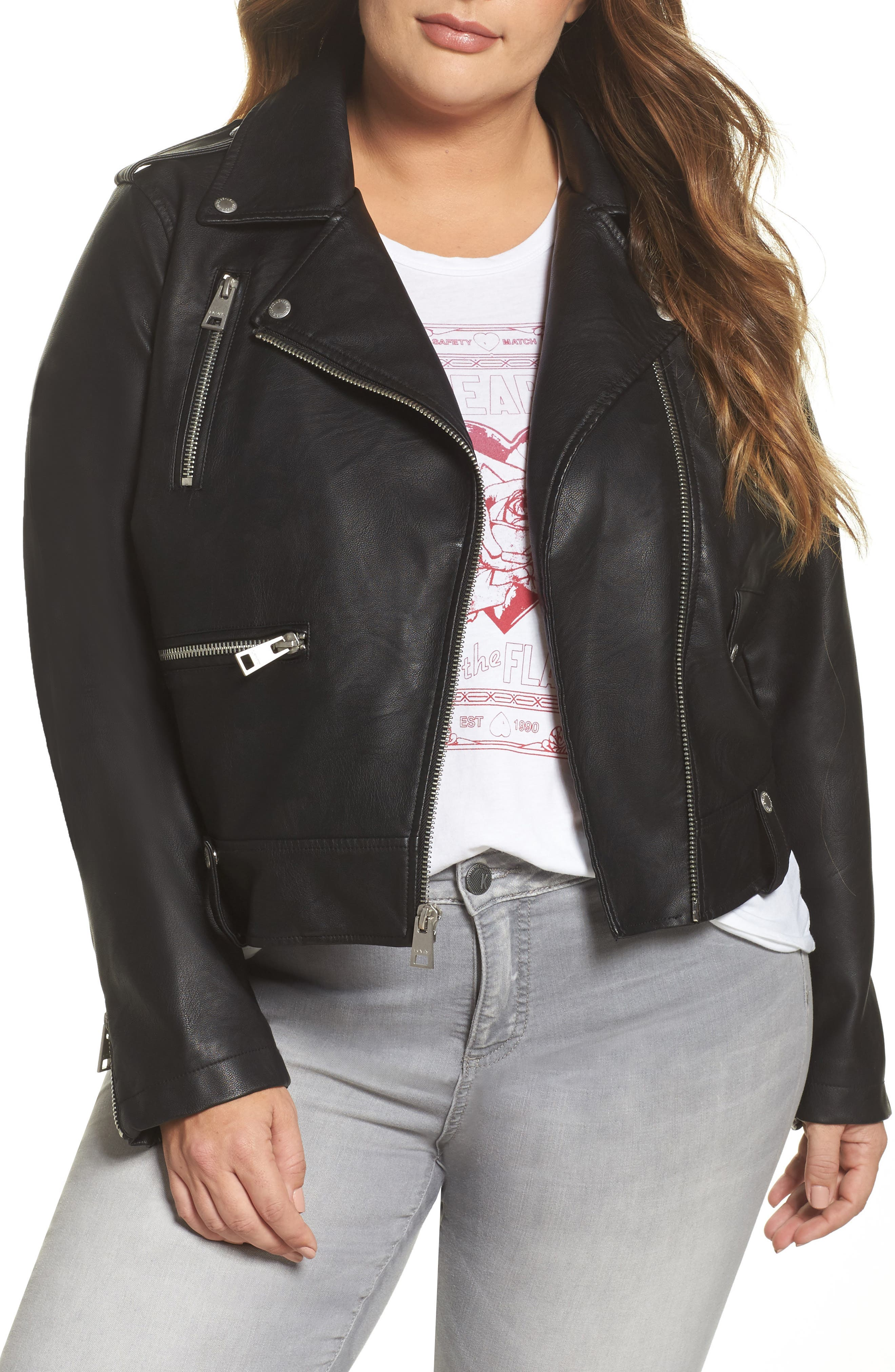 Lamb Touch Faux Leather Moto Jacket,                             Main thumbnail 1, color,                             BLACK