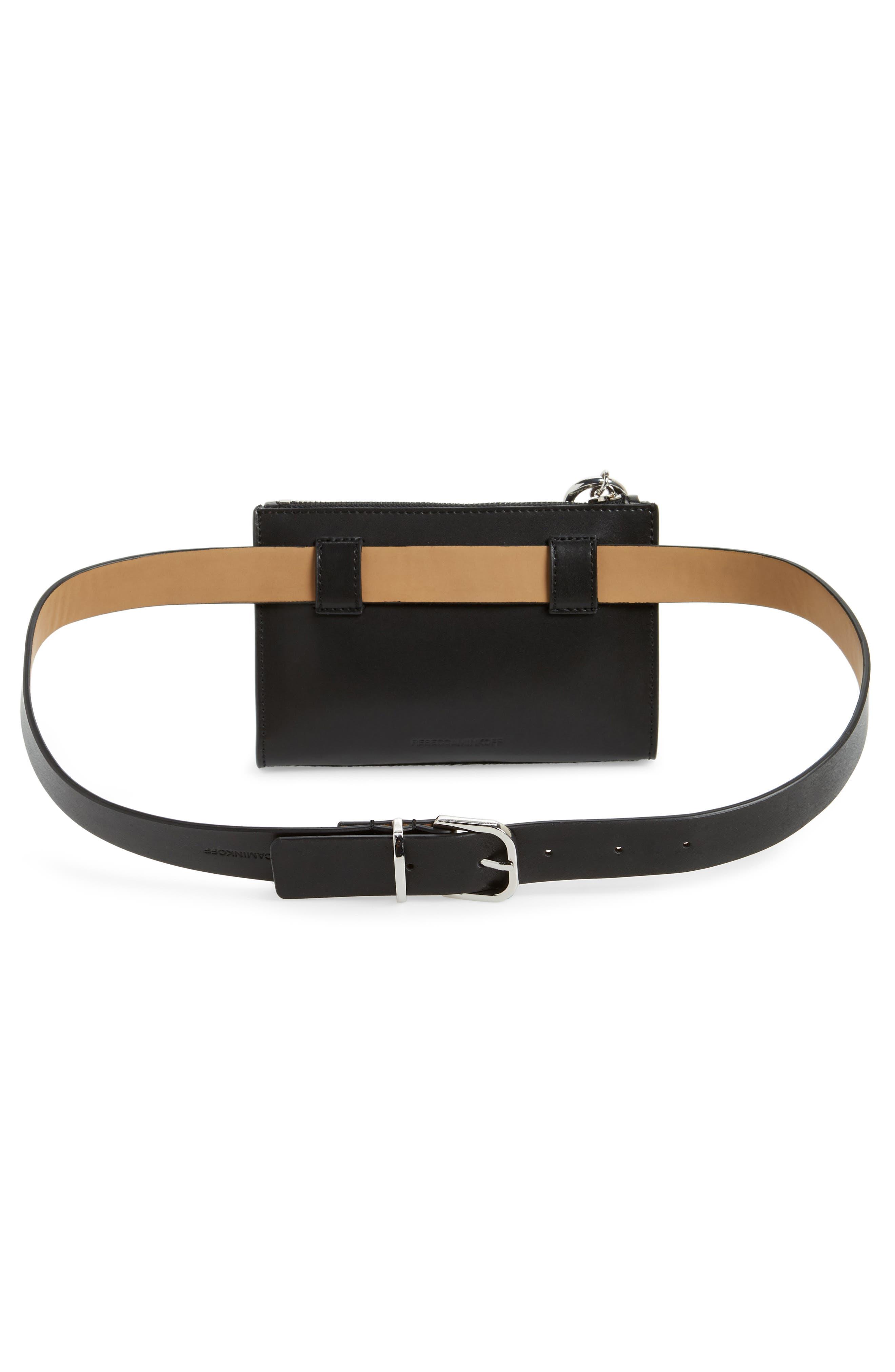 Ava Genuine Calf Hair Belt Bag,                             Alternate thumbnail 4, color,                             BLACK/ BLACK