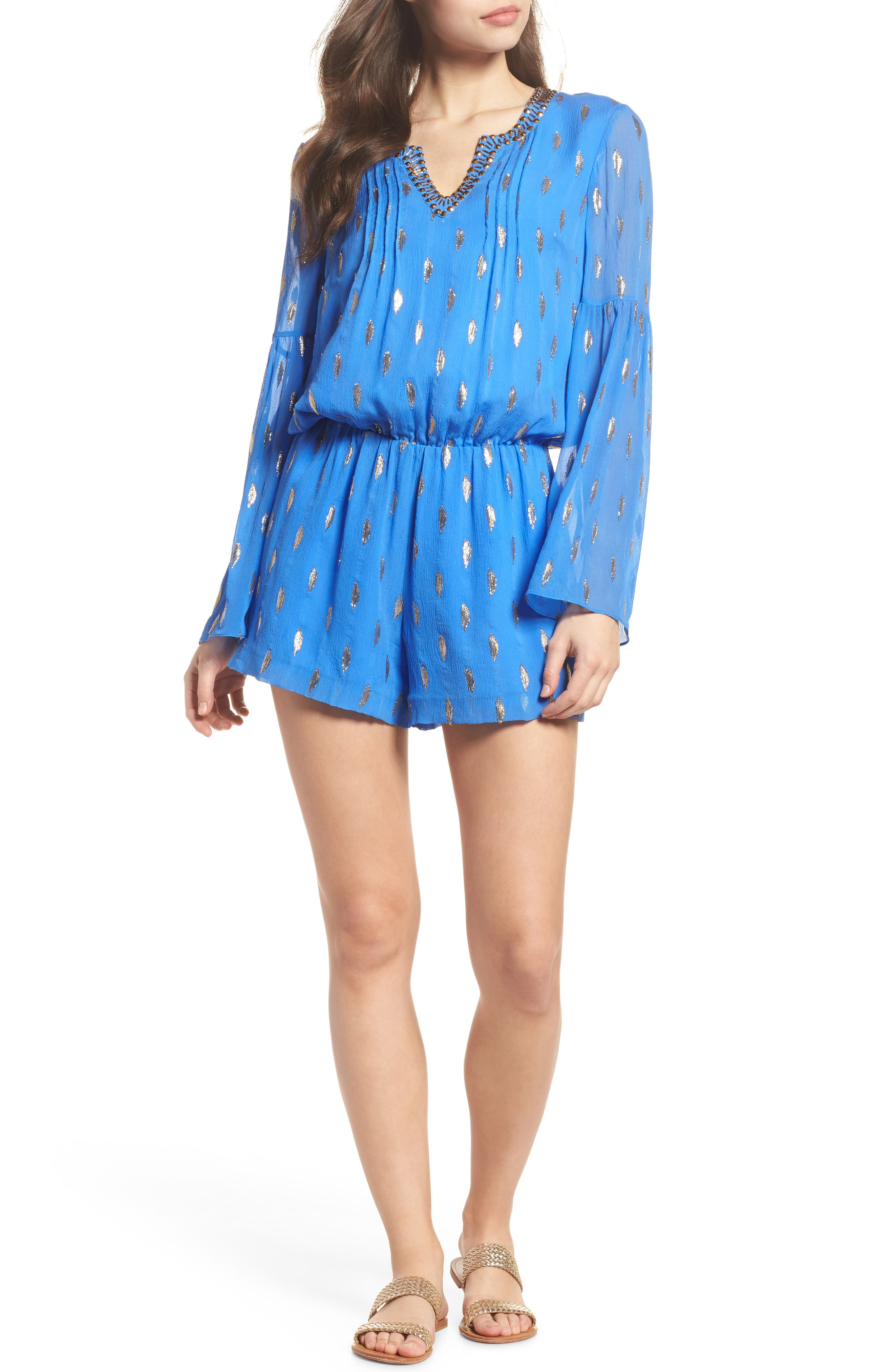 LILLY PULITZER<SUP>®</SUP>,                             Ariele Silk Romper,                             Main thumbnail 1, color,                             400