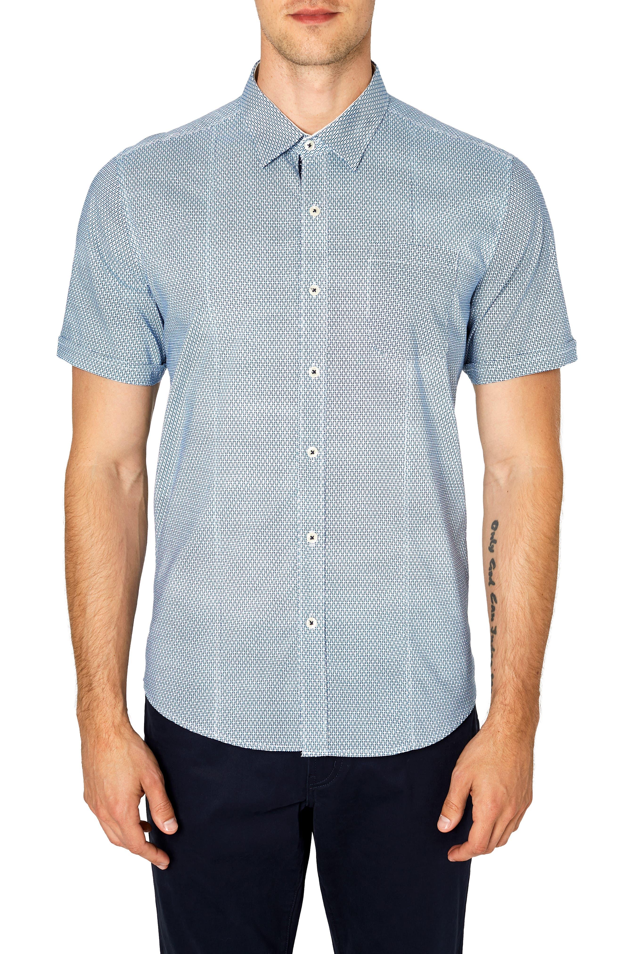 Free Rein Trim Fit Sport Shirt,                         Main,                         color, BLUE
