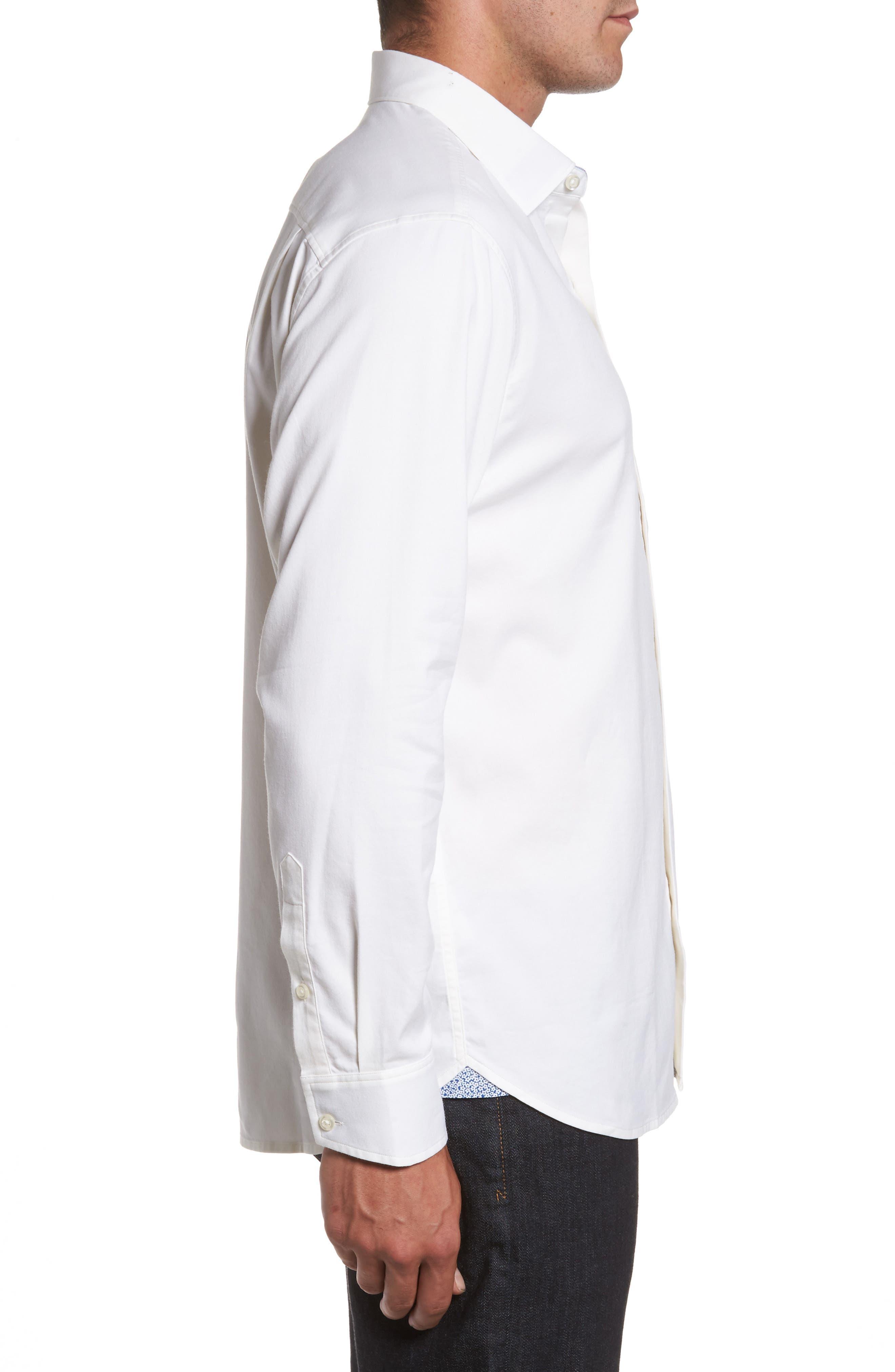 Oasis Twill Sport Shirt,                             Alternate thumbnail 3, color,                             WHITE