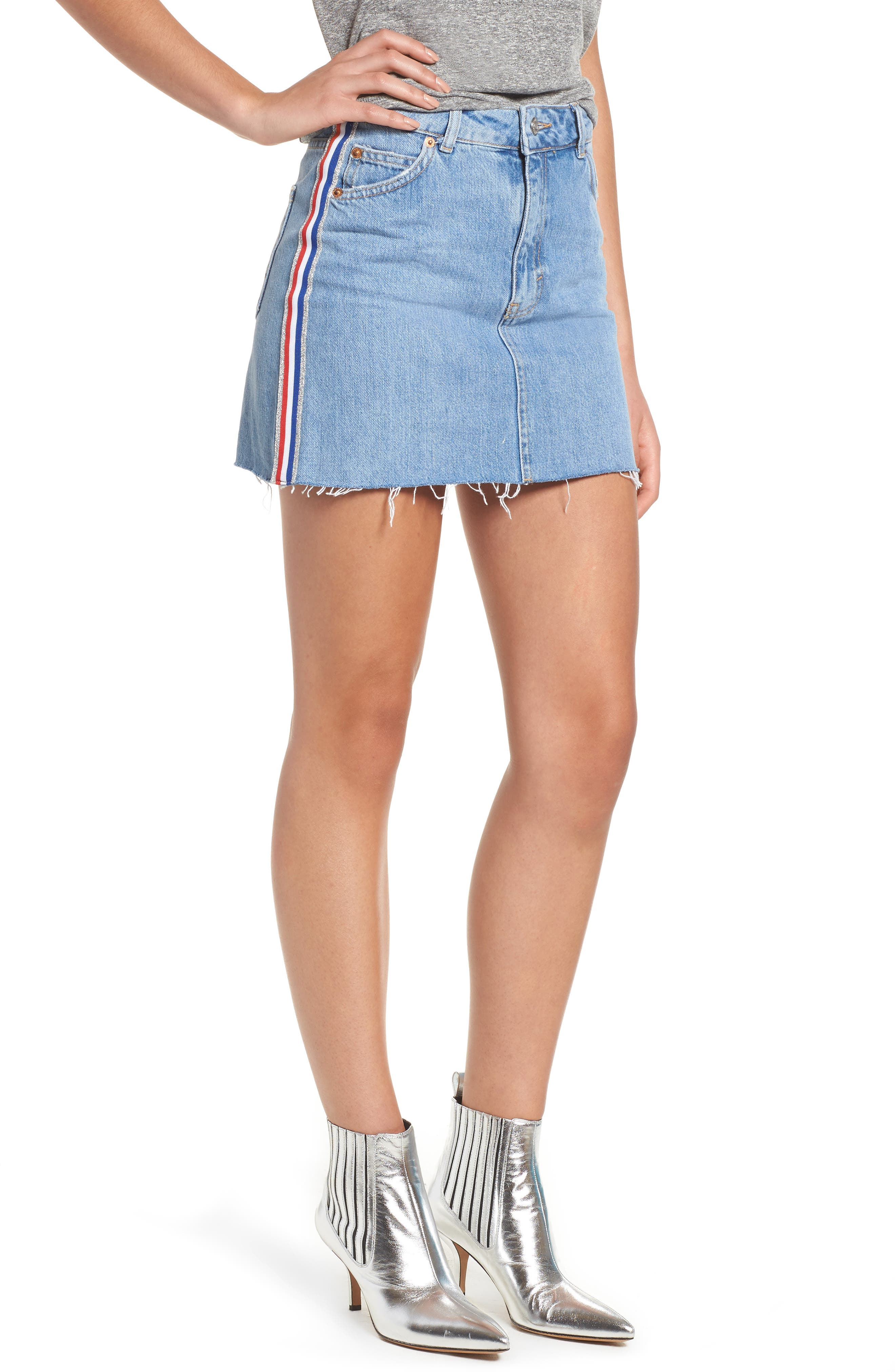 MOTO Stripe Denim Skirt,                             Main thumbnail 1, color,                             450