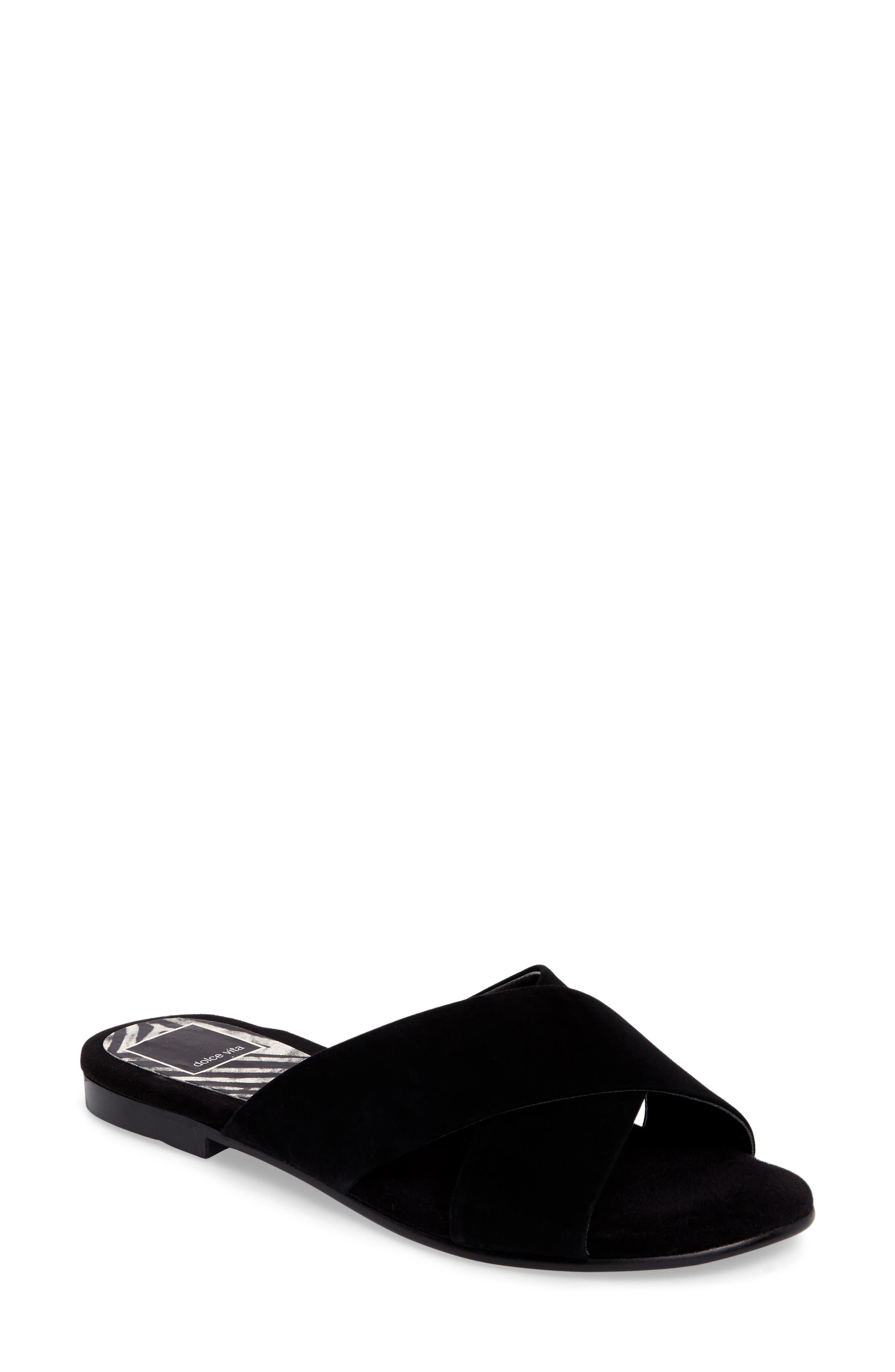 Cross Strap Slide Sandal,                             Main thumbnail 1, color,                             001