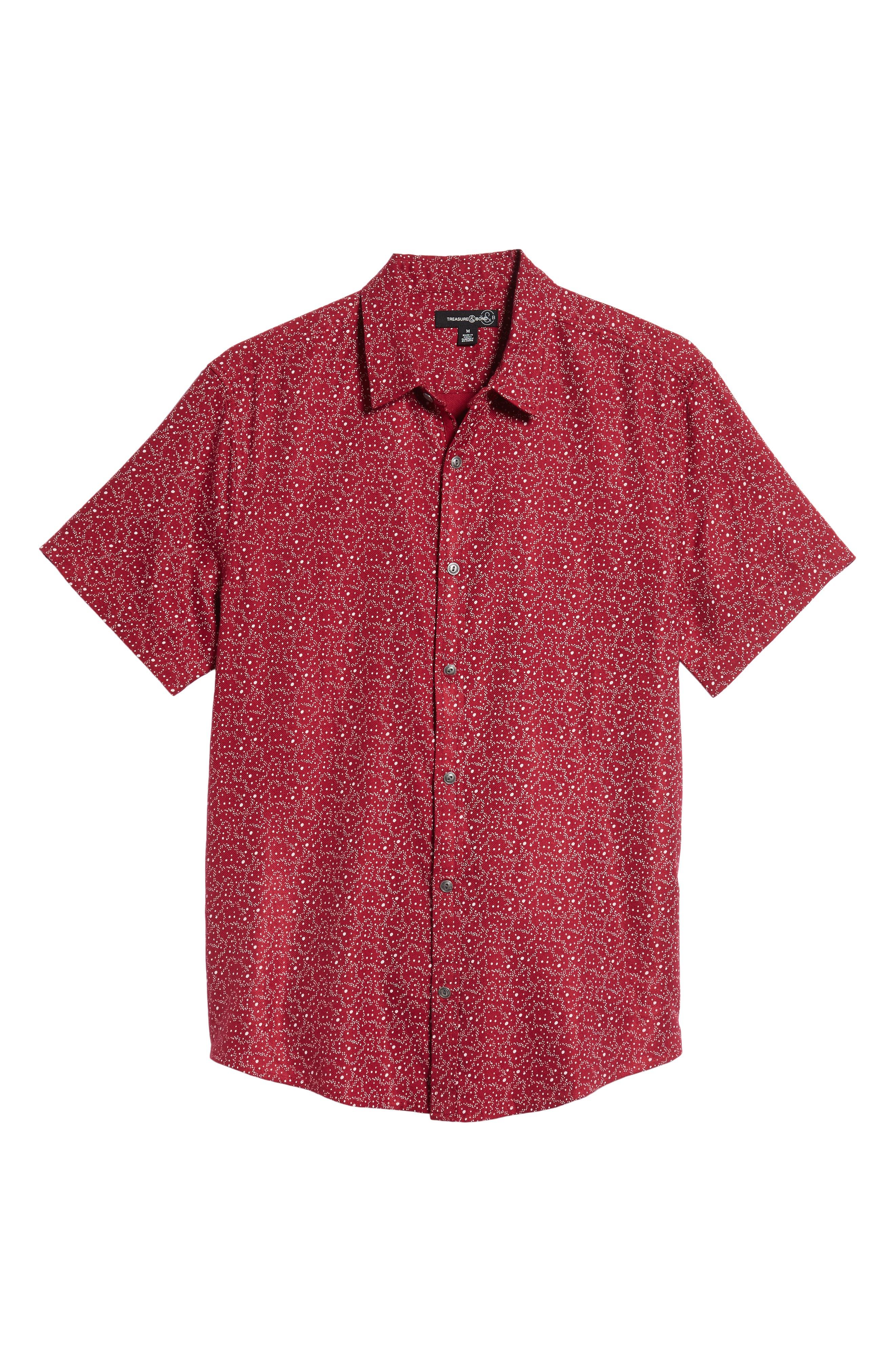 Trim Fit Print Sport Shirt,                             Alternate thumbnail 6, color,                             RED RUMBA CENTAURI