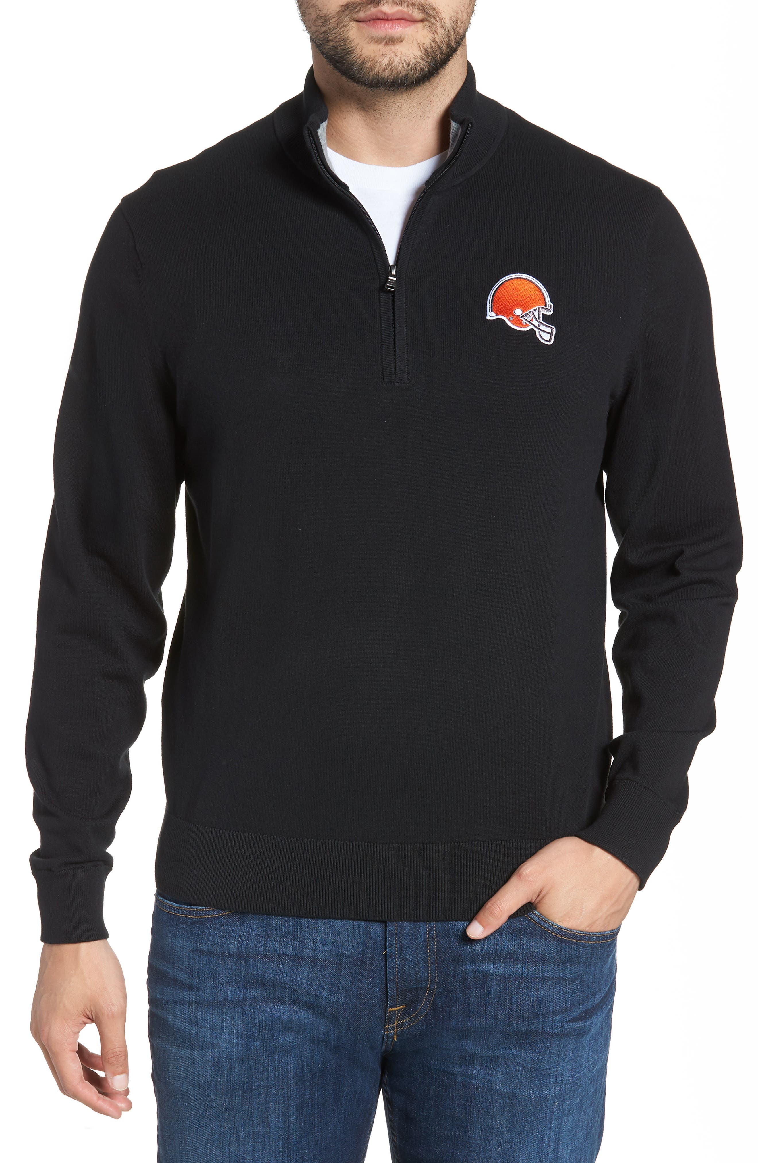 Cleveland Browns - Lakemont Regular Fit Quarter Zip Sweater,                         Main,                         color, BLACK