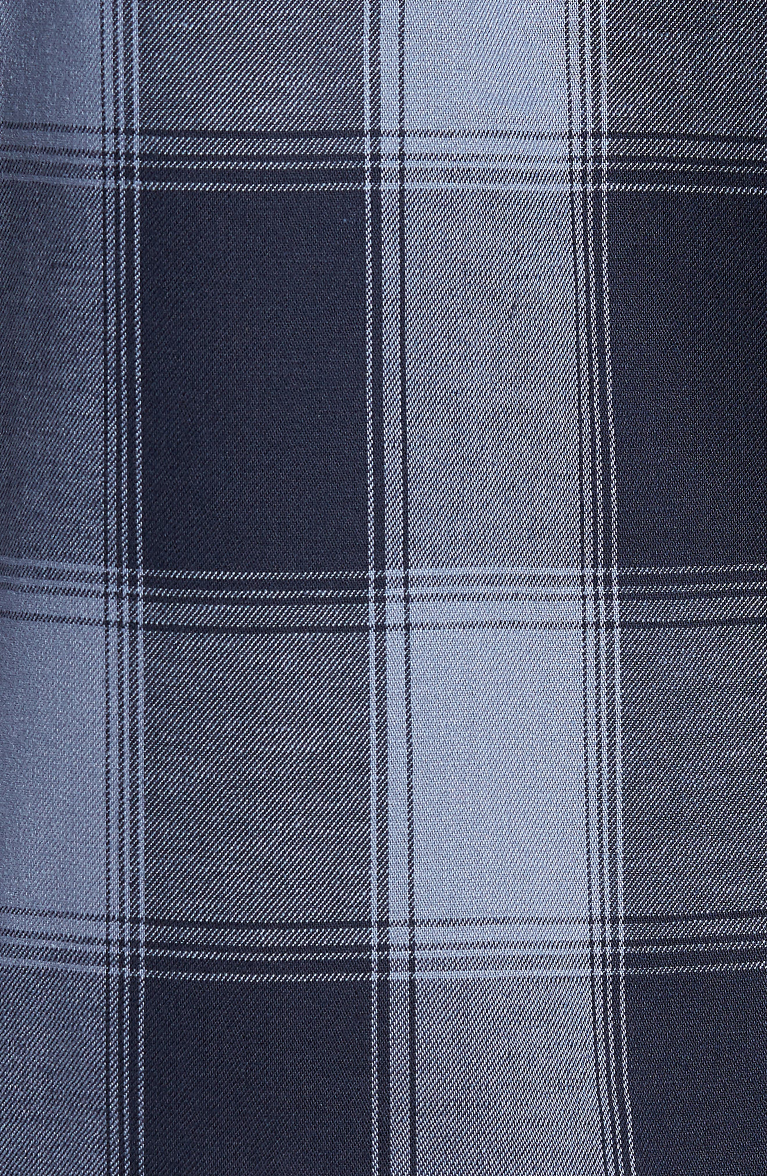 Slim Fit Mini Collar Buffalo Check Flannel Sport Shirt,                             Alternate thumbnail 5, color,                             GREY FOLKSTONE NAVY BUFFALO