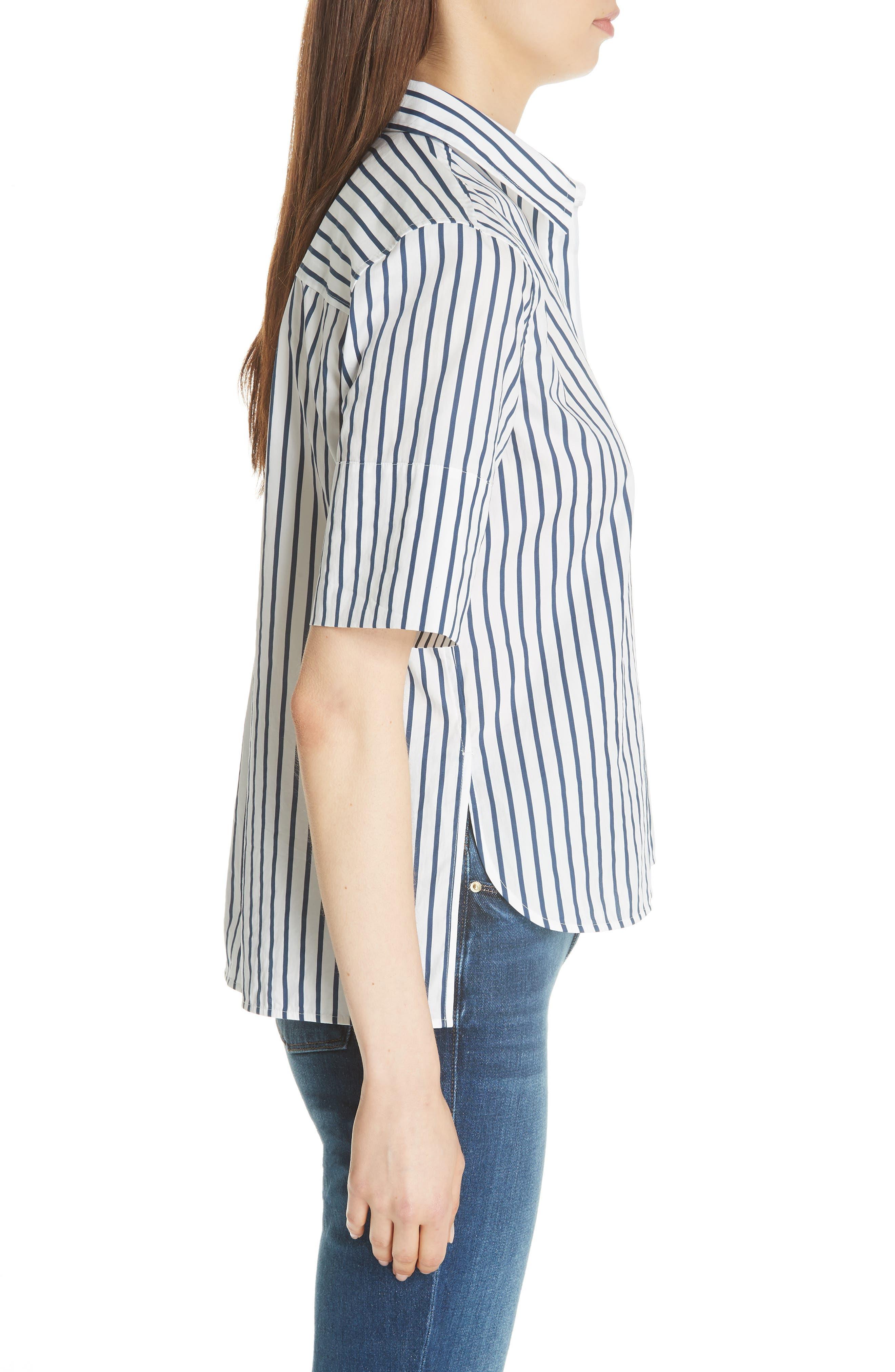 Paulette Short Sleeve Cotton Top,                             Alternate thumbnail 3, color,                             ECLIPSE/ BRIGHT WHITE